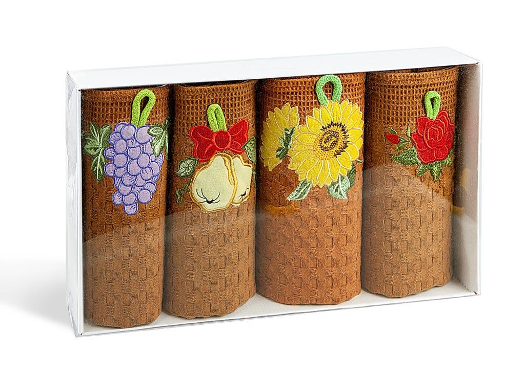 Набор кухонных полотенец Soavita, вафельные, цвет: коричневый, 40 х 60 см, 4 шт4005083Вафельные полотенца Soavita выполнены из 100% хлопка и декорированы вышитой аппликацией. Они используются для протирки различных поверхностей, также широко применяется в быту. Отлично впитывают влагу. Качество материала гарантирует безопасность не только взрослых, но и самых маленьких членов семьи. Полотенца Soavita идеально дополнят интерьер вашей кухни и создадут атмосферу уюта и комфорта.