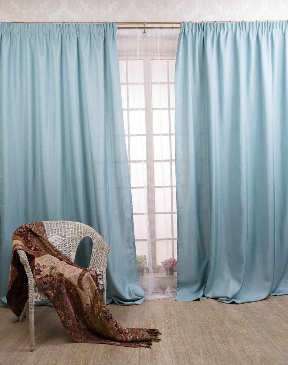 "Штора Daily by Togas ""Арта"", на ленте, с подхватом, цвет: голубой, 180 х 270 см"