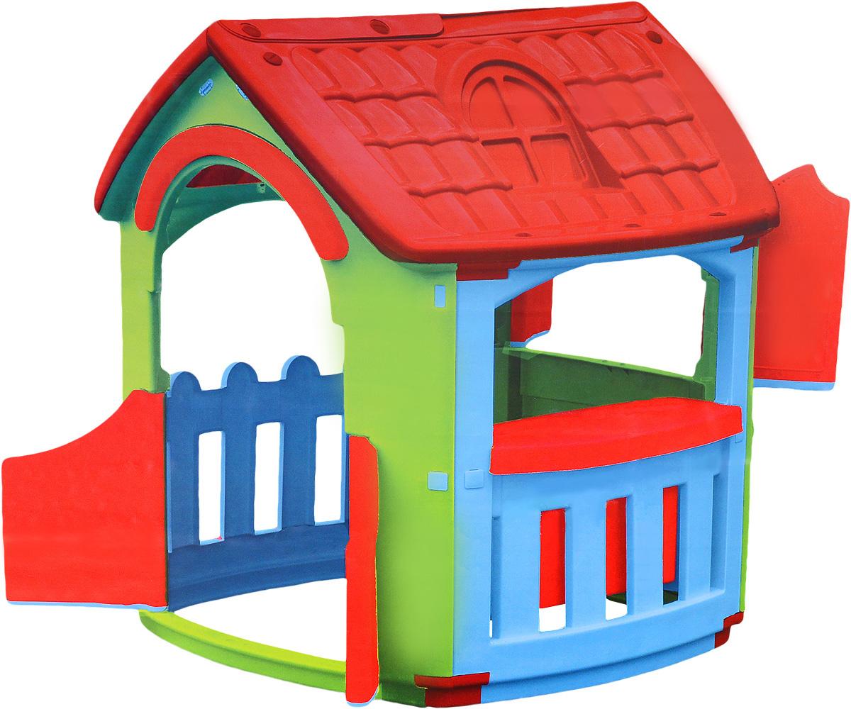 PalPlay Игровой домик Кухня663Игровой домик PalPlay Кухня - уникальная игрушка. В нем ребенок становится хозяином собственного сказочного мира. В процессе игры малыш примеряет на себя различные социальные роли, тем самым происходит первичный процесс адаптации. Когда ребенок играет с друзьями, у него улучшается коммуникативный процесс, что также важно для будущей жизни. Домик сделан из качественного пластика. Имеет красочный дизайн, имитирующий реальный дом. Удобная конструкция позволяет легко собирать домик, а также без труда размещать его как в квартире, так и на природе. Монтирование и демонтаж игрового комплекса осуществляется путем соединения отдельных частей домика с помощью пластиковых гаек. В собранном виде конструкция довольно крепкая и прочная. Домик имеет несколько дверей и три больших окошка, одно из которых закрывается на ставни. Предусмотрена надежная крыша, оберегающая малыша от воздействия солнечных лучей и внезапной непогоды. Внутри домика благоустроена небольшая кухня с раковиной...