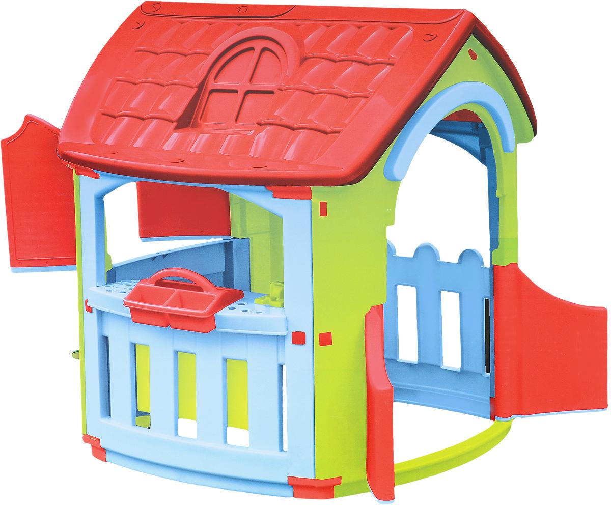 PalPlay Игровой домик Мастерская664Игровой домик PalPlay Мастерская - уникальная игрушка. В нем ребенок становится хозяином собственного сказочного мира. В процессе игры малыш примеряет на себя различные социальные роли, тем самым происходит первичный процесс адаптации. Когда ребенок играет с друзьями, у него улучшается коммуникативный процесс, что также важно для будущей жизни. Домик сделан из качественного пластика. Имеет красочный дизайн, имитирующий реальный дом. Удобная конструкция позволяет легко собирать домик, а также без труда размещать его как в квартире, так и на природе. Монтирование и демонтаж игрового комплекса осуществляется путем соединения отдельных частей домика с помощью пластиковых гаек. В собранном виде конструкция довольно крепкая и прочная. Домик оснащен двумя дверками и тремя большими окошками, одно из которых закрывается на ставни. Предусмотрена надежная крыша, оберегающая малыша от воздействия солнечных лучей и внезапной непогоды. Для детей от 2-х лет и весом до 25 кг.