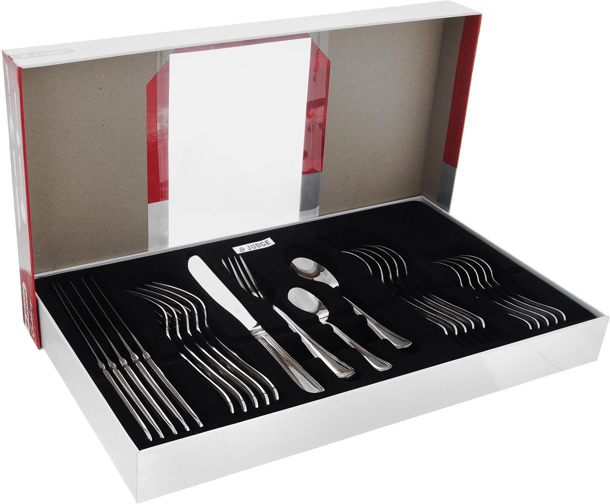Набор столовых приборов Judge Cutlery, 24 предметаCC50Столовые приборы Judge Cutlery выполнены из высококачественной нержавеющей стали. Они прекрасно подойдут как для ежедневного использования, так и для торжественного события. Оригинальный набор столовых приборов, состоящий из 24 предметов, включает в себя 6 вилок, 6 столовых ложек, 6 ножей и 6 чайных ложек. Эксклюзивный дизайн, эстетичность и функциональность набора позволят ему занять достойное место среди кухонного инвентаря. Длина вилки: 20 см. Длина столовой ложки: 17,5 см. Длина ножа: 22,5 см. Длина чайной ложки: 14 см.