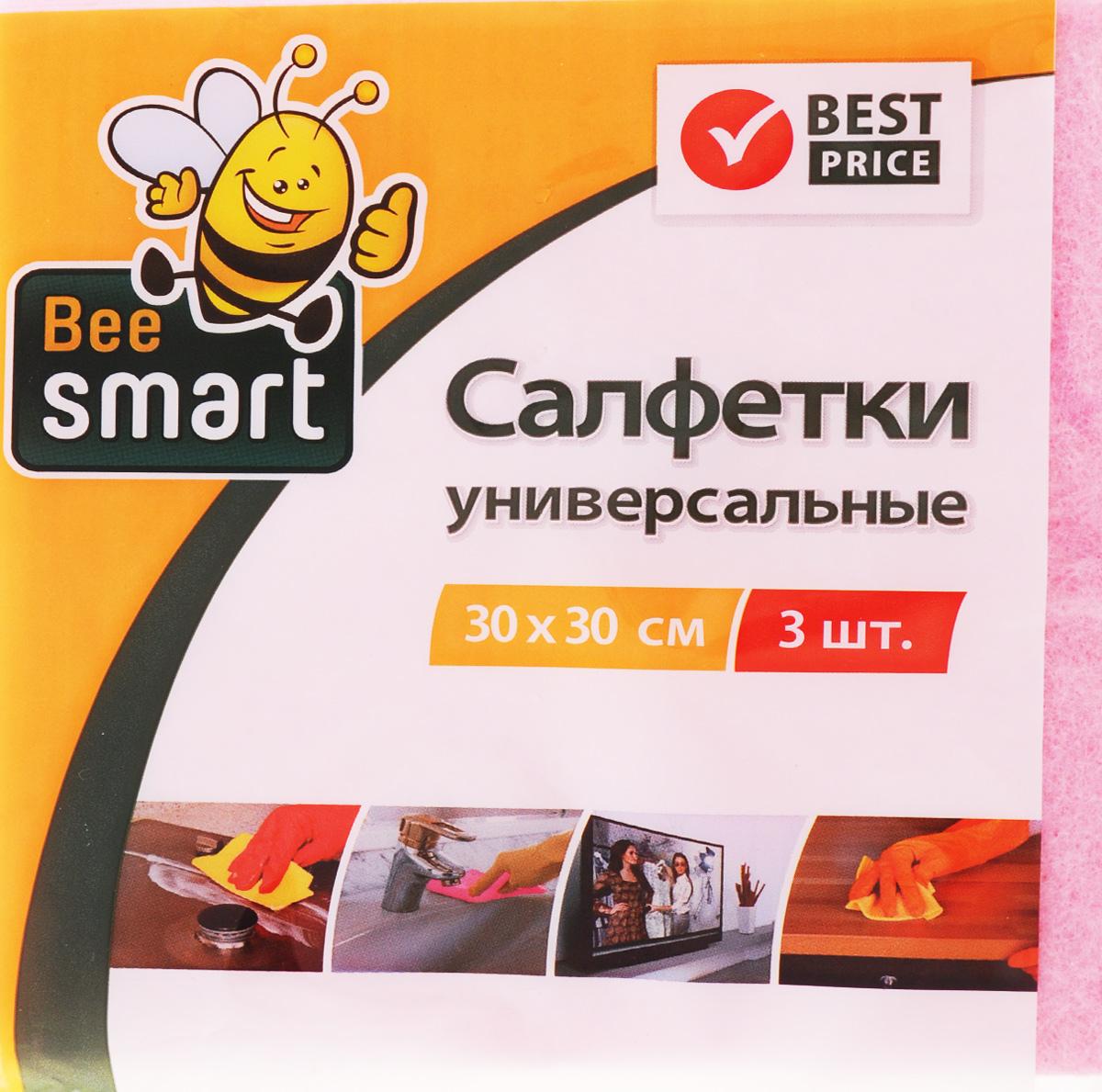 Набор универсальных салфеток Beesmart, 30 х 30 см, 3 шт410022Набор Beesmart, выполненный из нетканого полотна (вискоза, полиэстер), состоит из 3 салфеток. Изделия предназначены для сухой и влажной уборки. Отлично впитывают жидкости, жиры, масла. Пригодны для многоразового использования, долговечны, не оставляют следов и ворсинок. Размер салфетки: 30 х 30 см.