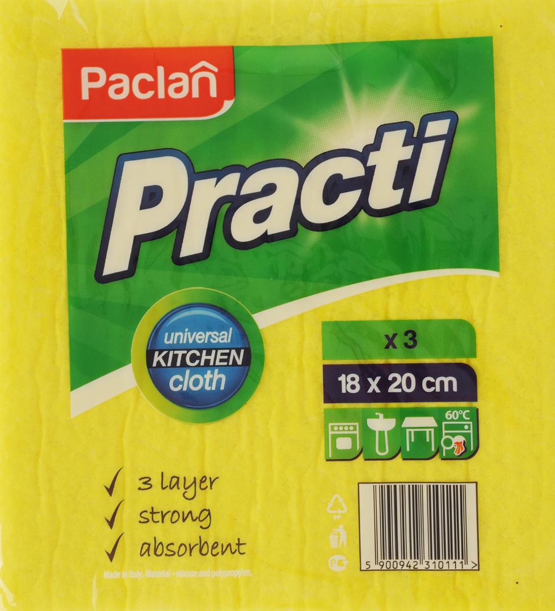 Набор салфеток для уборки Paclan Practi, 18 х 20 см, 3 шт513420/135391/135390/135392Хозяйственные салфетки Paclan Practi для влажной уборки станут незаменимыми помощниками на кухне и в ванной комнате. Благодаря трем слоям изделия хорошо впитывают влагу и легко выжимаются. Прочные и не твердеют после высыхания, а также не теряют форму. Размер салфетки: 18 х 20 см.