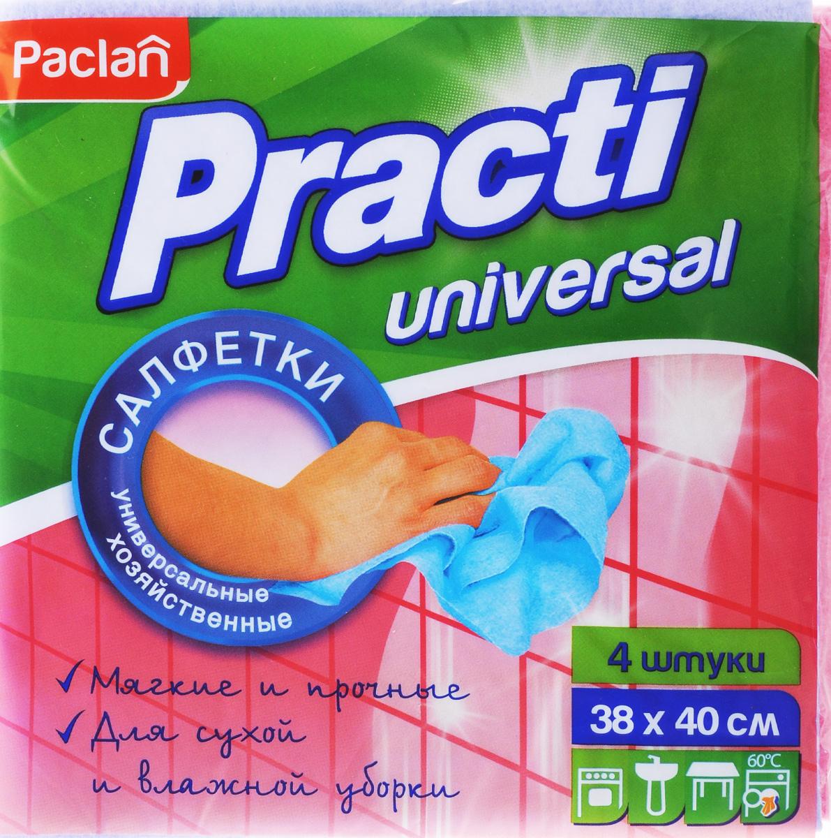 Набор универсальных салфеток для уборки Paclan Practi, 38 х 40 см, 4 шт410020Набор Paclan Practi, выполненный из нетканого полотна (вискоза, полиэстер), состоит из 4 салфеток. Изделия предназначены для сухой и влажной уборки. Отлично впитывают жидкости, жиры, масла. Пригодны для многоразового использования, долговечны, не оставляют следов и ворсинок. Размер салфетки: 38 х 40 см.