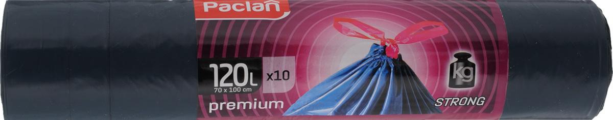 Мешки для мусора Paclan Premium, с завязками, 120 л, 10 шт134560/134561/513720/513721Двуслойные мешки Paclan Premium, выполненные из высококачественного полиэтилена, предназначены для сбора, хранения и утилизации бытового мусора. Изделия оснащены завязкой для удобного использования. Мешки прочные и крепкие, способны выдерживать большие объемы мусора Размер мешка: 70 х 100 см. Количество: 10 шт.