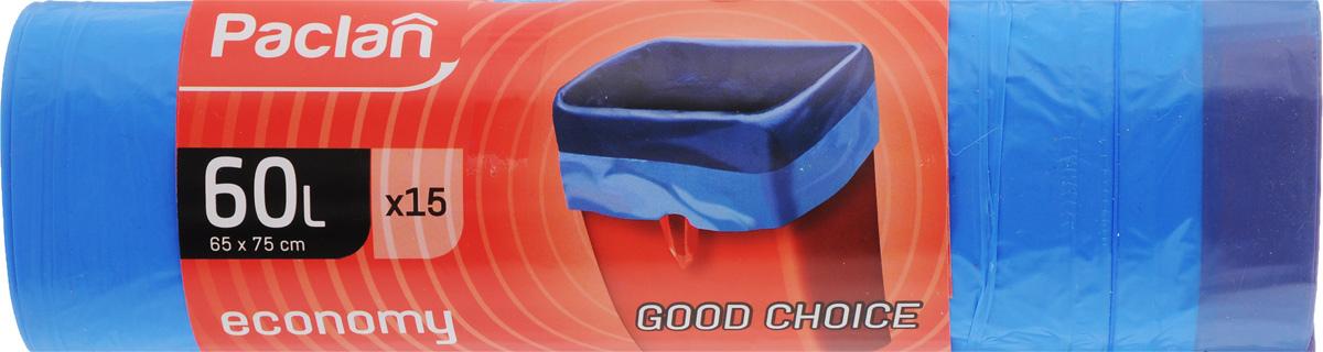 Мешки для мусора Paclan Economy, с завязками, 60 л, 15 шт402060/166033/166037/1660371Мешки для мусора Paclan Economy, выполненные из высокопрочного и эластичного полиэтилена, обеспечат чистоту и гигиену в квартире. Они удобны для сбора и удаления мусора, занимают мало места, практичны в использовании. Широко применяются в быту и на производстве. Благодаря прочным завязкам изделия удобны в переноске и предотвращают распространение неприятного запаха. Размер мешка: 75 х 65 см. Комплектация: 15 шт.