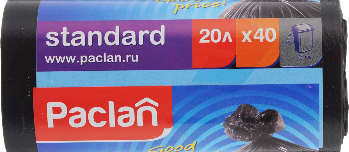 Мешки для мусора Paclan Standart, 20 л, 40 шт163447/402120Мешки Paclan Standart, выполненные из высококачественного полиэтилена, обеспечат чистоту и гигиену в квартире. Они удобны для сбора и удаления мусора, занимают мало места, практичны в использовании. Благодаря удобным размерам, мешки легко вкладываются в ведро. Размер мешка: 45 х 55 см. Комплектация: 40 шт.