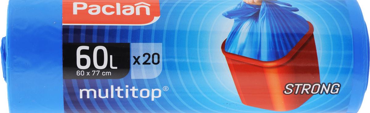 Мешки для мусора Paclan Multitop, 60 л, 20 шт513810/402092/402090/402091Мешки Paclan Multitop, выполненные из высококачественного полиэтилена, предназначены для сбора, хранения и утилизации бытового мусора. Очень прочные и удобные. Четыре вырезанных рога облегчают размещение мешка в ведре и его завязывание. Размер мешка: 60 х 77 см. Комплектация: 20 шт.