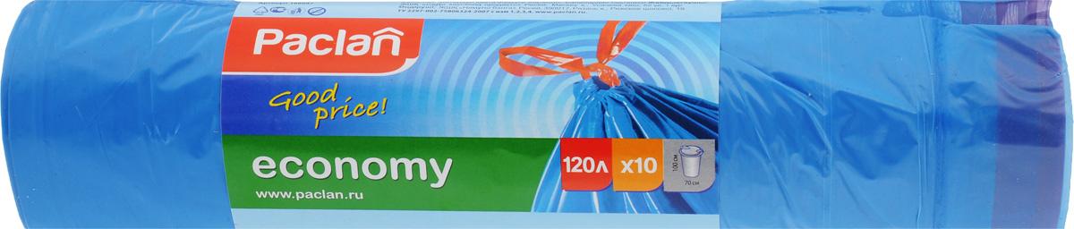 Мешки для мусора Paclan Economy, с завязками, 120 л, 10 шт166042/166047/1660471/402070Мешки Paclan Economy, выполненные из высокопрочного и эластичного полиэтилена, обеспечат чистоту и гигиену в квартире. Они удобны для сбора и удаления мусора, занимают мало места, практичны в использовании. Широко применяются в быту и на производстве. Благодаря прочным завязкам, изделия удобны в переноске и предотвращают распространение неприятного запаха. Размер мешка: 70 х 100 см. Комплектация: 10 шт.