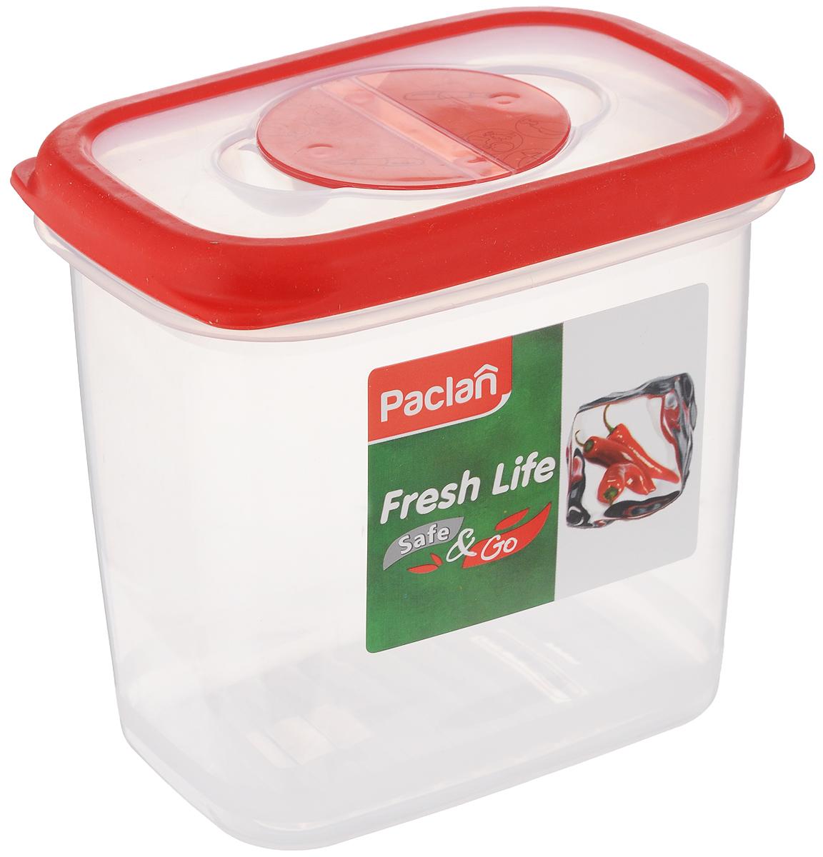 Контейнер для хранения продуктов Paclan Fresh Life, 900 мл414028Герметичный контейнер Paclan Fresh Life, выполненный из полипропилена, предназначен для хранения, заморозки и разогрева в микроволновой печи (при снятой крышке). После использования промыть теплой водой. Можно мыть в посудомоечной машине. Не пригоден для приготовления пищи. Объем: 900 мл. Высота стенок: 12,5 см. Размер (по верхнему краю): 12,5 х 8,5 см.