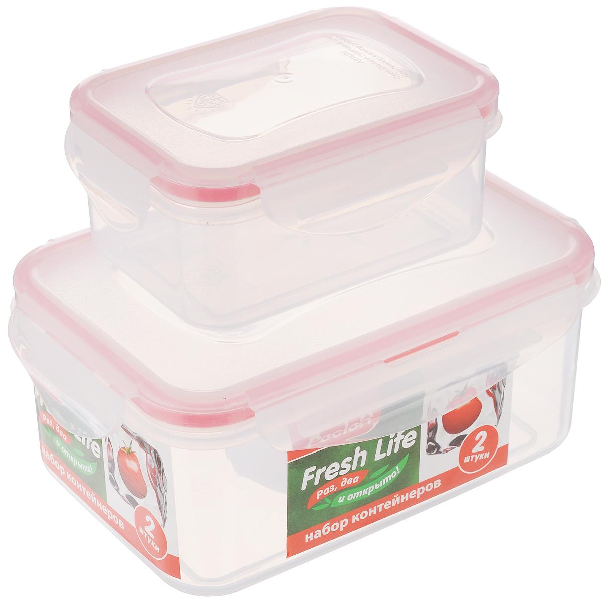 Набор контейнеров для хранения продуктов Paclan Fresh Life, 2 шт136070/414001Набор контейнеров Paclan Fresh Life, выполненных из полипропилена, предназначен для хранения, заморозки и разогрева в микроволновой печи (при снятой крышке). После использования промыть теплой водой. Можно мыть в посудомоечной машине. Не пригодны для приготовления пищи. Объем контейнеров: 0,4 л и 1 л. Высота стенок большого контейнера: 7 см. Размер большого контейнера (по верхнему краю): 16,5 х 11 см. Высота стенок маленького контейнера: 5 см. Размер маленького контейнера (по верхнему краю): 11,5 х 8,5 см.