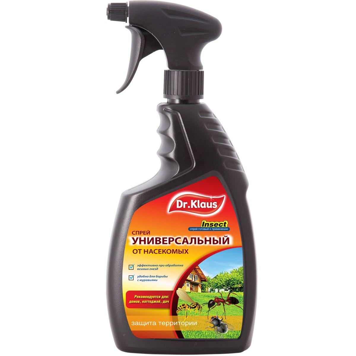 Спрей Dr.Klaus, универсальный, от насекомых, 750 млDK 04-26-001-1Для уничтожения ос, мух, комаров, мошек, муравьев, клещей, блох, тараканов, клещей и других насекомых и их личинок вокруг дачи, коттеджа, на террасах, верандах, стенах, фундаменте, дорожках. Эффективно борется с рядом насекомых – вредителей: майский жук, совки, тли, долгоносики, цикадки, минирующие насекомые, клеверный клещ, луговой мотылек, проволочники (жуки-щелкуны), трипсы, паутинные клещи, белокрылки, листоеды, пилильщики, кольчатый коконопряд, непарный шелкопряд, лунка серебристая, щитовка сосновой хвои, мешочница поденкоподобная, златогузка, шелкопряд, монашенка.