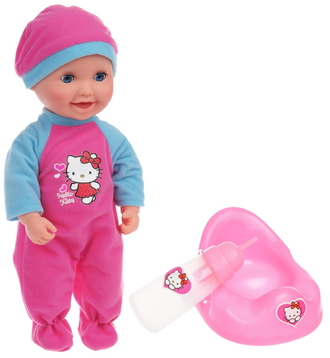 Карапуз Пупс Hello Kitty цвет одежды розовый голубой82907-RU-HELLO KITTYОчаровательный пупс Карапуз Hello Kitty приведет в восторг вашу малышку и доставит ей много удовольствия от часов, посвященных игре с ним. Кукла выглядит как настоящий малыш. Она одета в костюмчик, украшенный изображением Hello Kitty и шапочку. У пупса подвижные голова, ножки и ручки. В комплект входят аксессуары для ухода за малышом: бутылочка для кормления и горшок. Малыш пьет из бутылочки и писает в горшочек. Если пупса положить - он закроет глазки. Куклу можно купать. Игра с куклой разовьет в вашей малышке чувство ответственности и заботы. Порадуйте свою принцессу таким великолепным подарком!