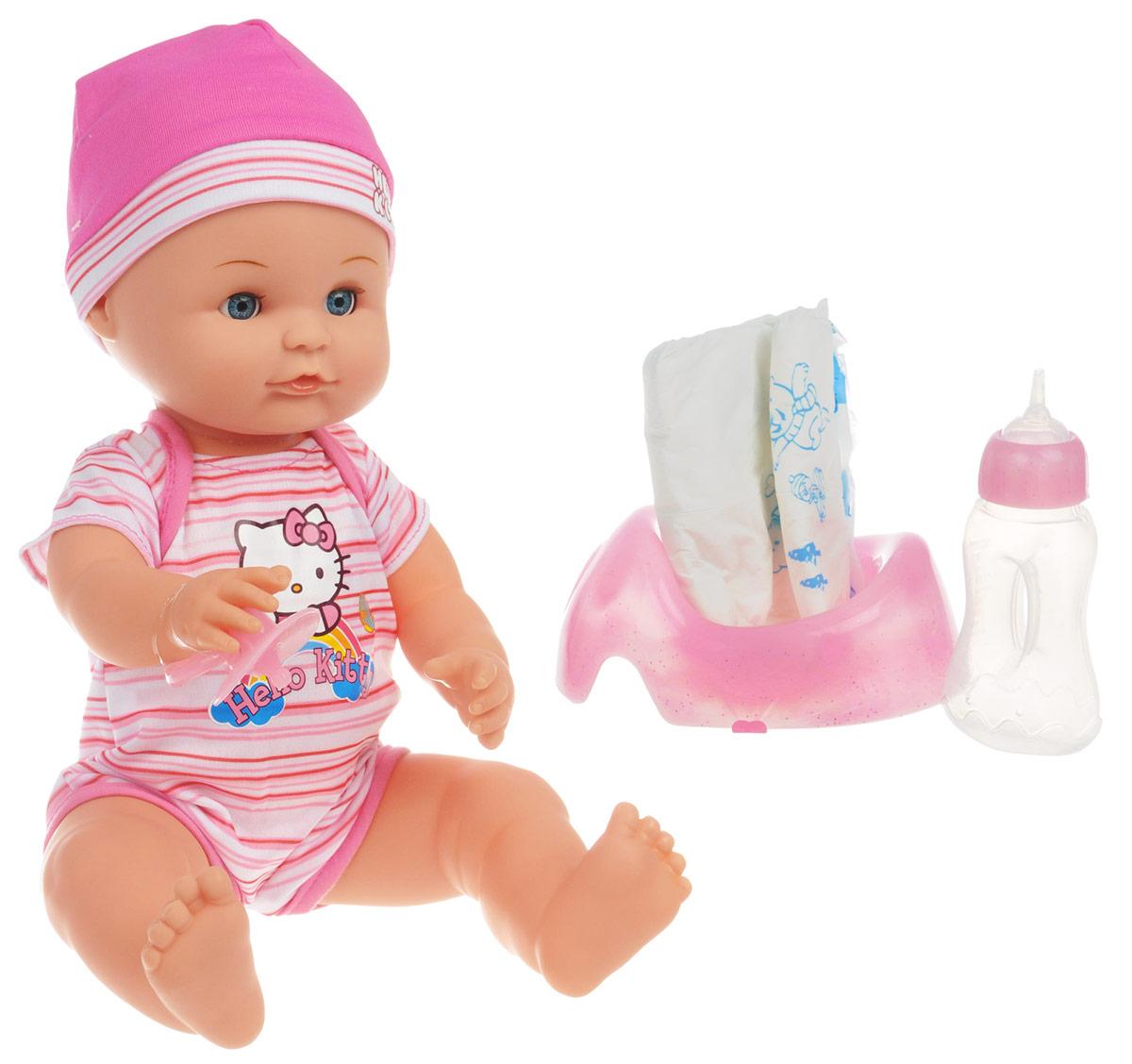 Карапуз Пупс Hello Kitty цвет одежды розовый белыйY210315-HELLO KITTYОчаровательный пупс Карапуз Hello Kitty приведет в восторг вашу малышку и доставит ей много удовольствия от часов, посвященных игре с ним. Кукла выглядит как настоящий малыш. Она одета в костюмчик, украшенный изображением Hello Kitty и шапочку в бело-розовых цветах. У пупса подвижные голова, ножки и ручки. В комплект входят аксессуары для ухода за малышом: бутылочка для кормления, горшок, подгузник, пустышка и свидетельство о рождении. Малыш пьет из бутылочки и писает в горшочек. Если пупса положить - он закроет глазки. Куклу можно купать. Игра с куклой разовьет в вашем ребенке фантазию и любознательность, поможет овладеть навыками общения и научит ролевым играм, воспитает чувство ответственности и заботы.