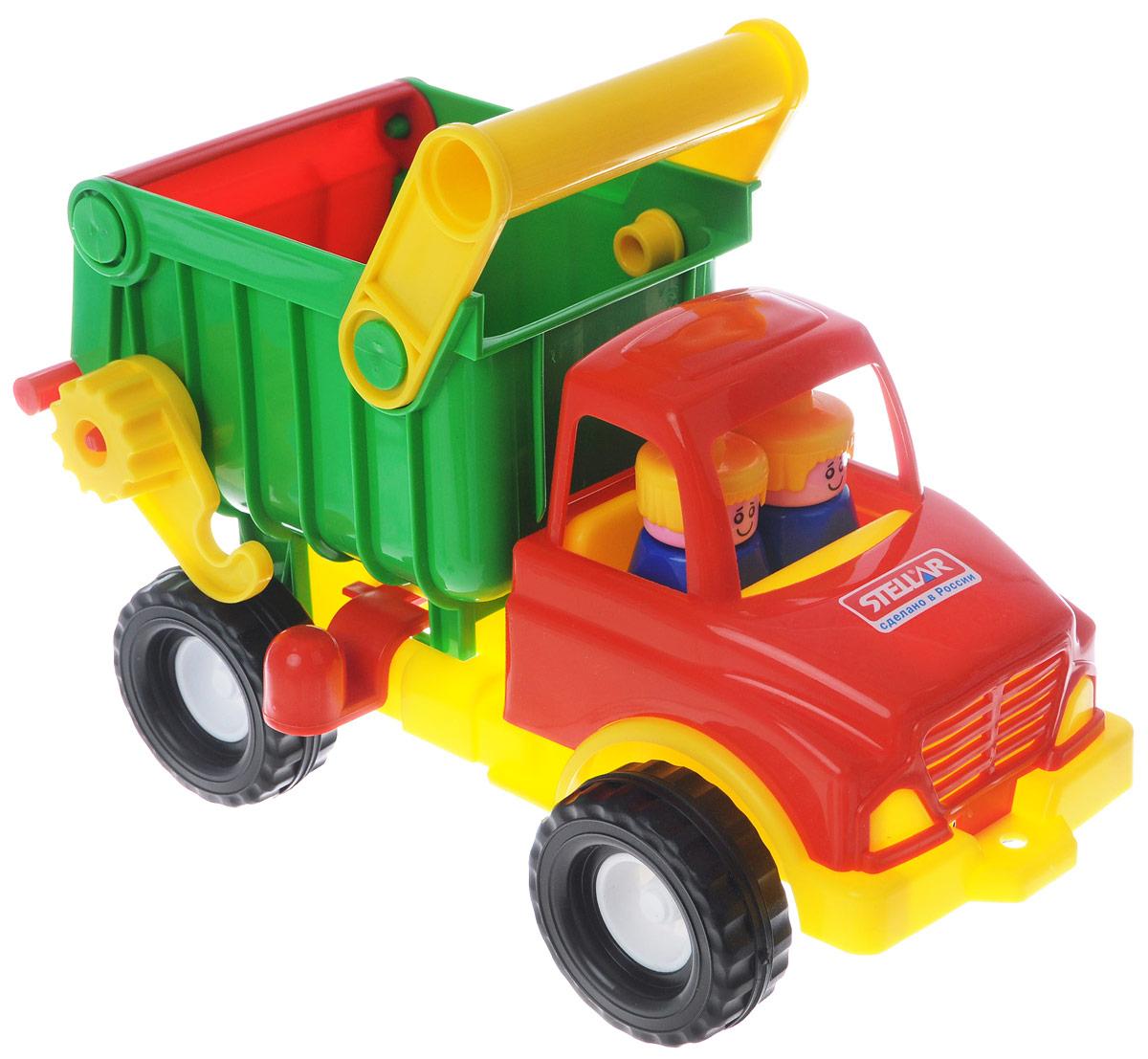 Stellar Грузовик цвет красный зеленый желтый1401_красный, зеленый, желтыйГрузовик-самосвал Stellar отлично подойдет ребенку для различных игр. Вместительный кузов машины поднимается и опускается, задняя стенка кузова открывается. В кабине без стекол находятся две фигурки. Большие ребристые колеса обеспечивают машине устойчивость и хорошую проходимость. А еще машину можно возить за веревочку - для этого предусмотрено отверстие на бампере грузовика. Грузовик выполнен из прочного пластика, который позволяет выдерживать большие нагрузки. Ваш юный строитель сможет прекрасно провести время дома или на улице, подвозя к месту игрушечной стройки необходимые предметы на этом красочном грузовике.