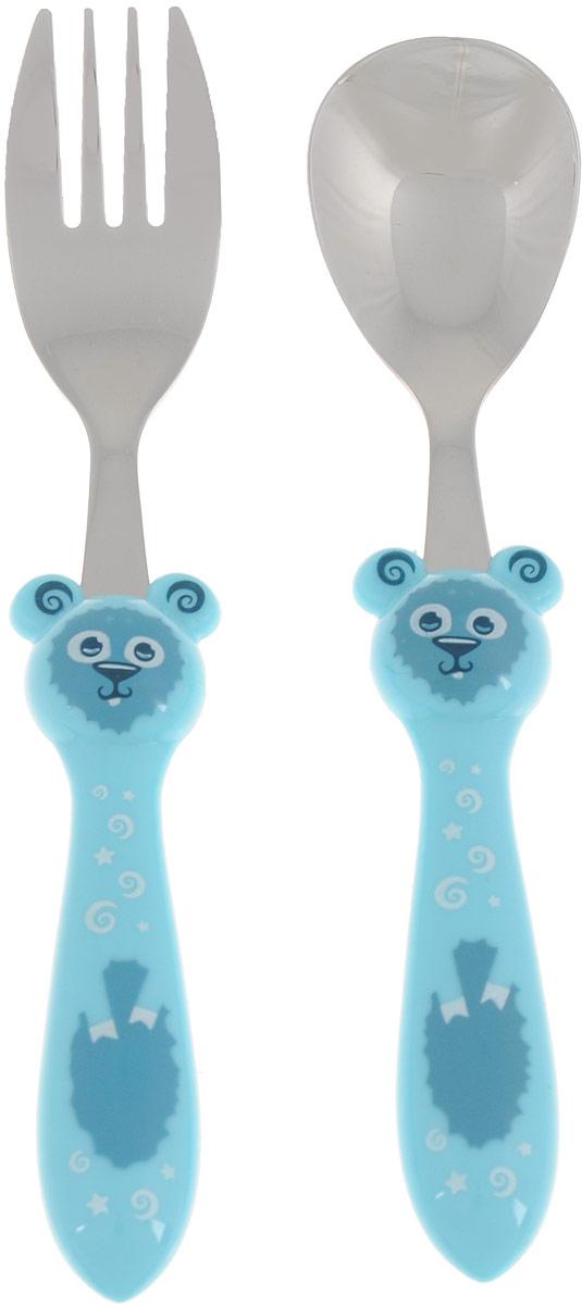 Набор детских столовых приборов Apollo Kiddy, цвет: голубой, 2 предметаKDY-01_голубойДетский набор Apollo Kiddy состоит из ложки и вилки, выполненных из высококачественной нержавеющей стали с зеркальной полировкой. Ручки изделий выполнены из пищевого пластика в оригинальной форме. Эксклюзивный дизайн, эстетичность и функциональность набора позволят ему занять достойное место среди кухонного инвентаря. Рекомендуется мыть вручную. Длина вилки: 16,5 см. Длина ложки: 16 см.