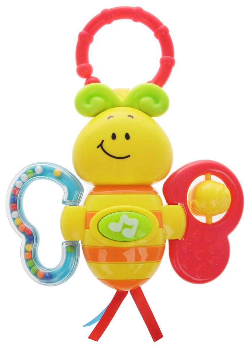 Умка Музыкальная погремушка Пчелка0625-6-7-R2Музыкальная погремушка Умка Пчелка создана специально для самых маленьких! Форма крыльев пчелки выполнена так, чтобы малышу было удобно держать ее в ладошке. С помощью этой игрушки ваш малыш научится различать цвета, разовьет мелкую моторику, чувство ритма, слуховое и зрительное восприятие. Потрясите погремушку - и вы услышите, как гремят бусинки. Разноцветные шарики не дадут скучать малышу, также пчелка поет песенки из мультфильмов и мигает, это вызывает интерес и привлекает внимание малыша. Рекомендуется докупить 3 батарейки типа LR44 (товар комплектуется демонстрационными).