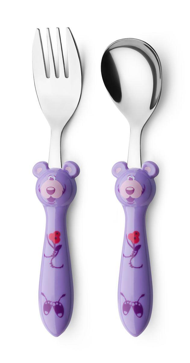 Набор детских столовых приборов Apollo Kiddy, цвет: фиолетовый, 2 предметаKDY-01_фиолетВ набор Kiddy входят столовая ложка и столовая вилка. Набор предназначен для детей от 3-х лет
