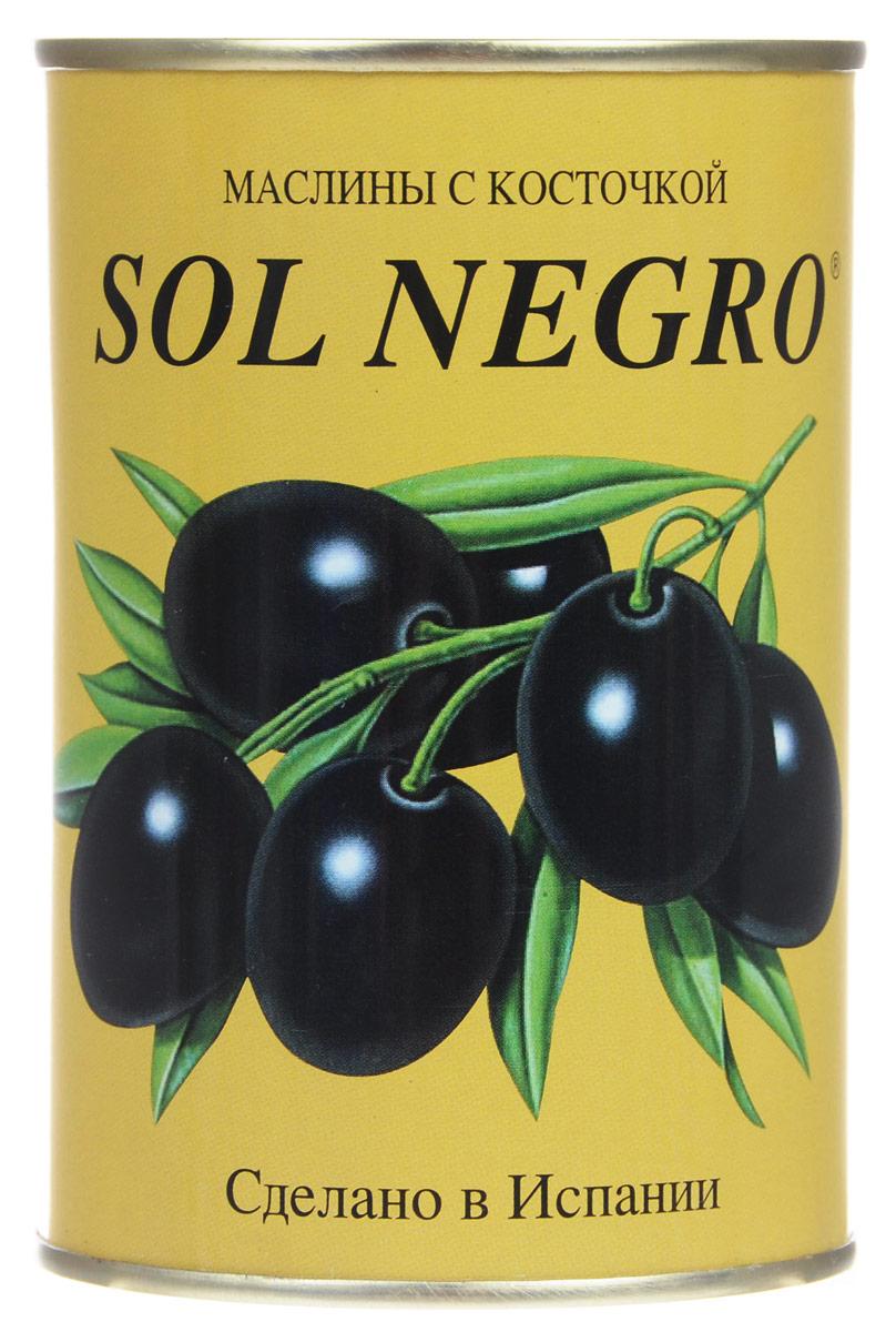 Sol Negro маслины черные с косточкой, 480 г