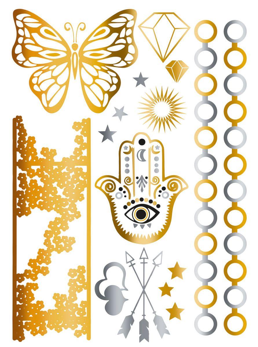 Herma Наклейки для тела Flash Tattoo Рука Фатимы15160Флэш-татуировки – это временные татуировки напоминающие ювелирные украшения. Преимущества флэш-тату очевидны: Во-первых, они временные, это очень важно для тех, кто не хочет перманентное тату. Во-вторых, нанести на свое тело тату очень просто, принцип схож с «наклейками-переводилками». В-третьих, они нетоксичны - экологичны и безопасны для кожи и здоровья. Татуировки обладают высокой водостойкостью и держатся более недели. Любители украшать тело найдут себе рисунок под любое настроение. Самый распространенный вариант татуировки – металлическая цепь или браслет. Есть варианты татуировок под Boho-стиль и гламурные рисунки, надписи и геометрические фигуры. Металлик может иметь как золотой, так и серебряный оттенок. Имитация ювелирного украшения особенно привлекательно смотрится на загорелом теле. Размер листа, на котором располагается флэш-тату - 234 х 136 мм. НАНЕСЕНИЕ И УХОД Нанесение: 1. Предварительно очистить кожу, кожа должна быть сухая, без каких-либо кремов и масел. 2. Вырезать...