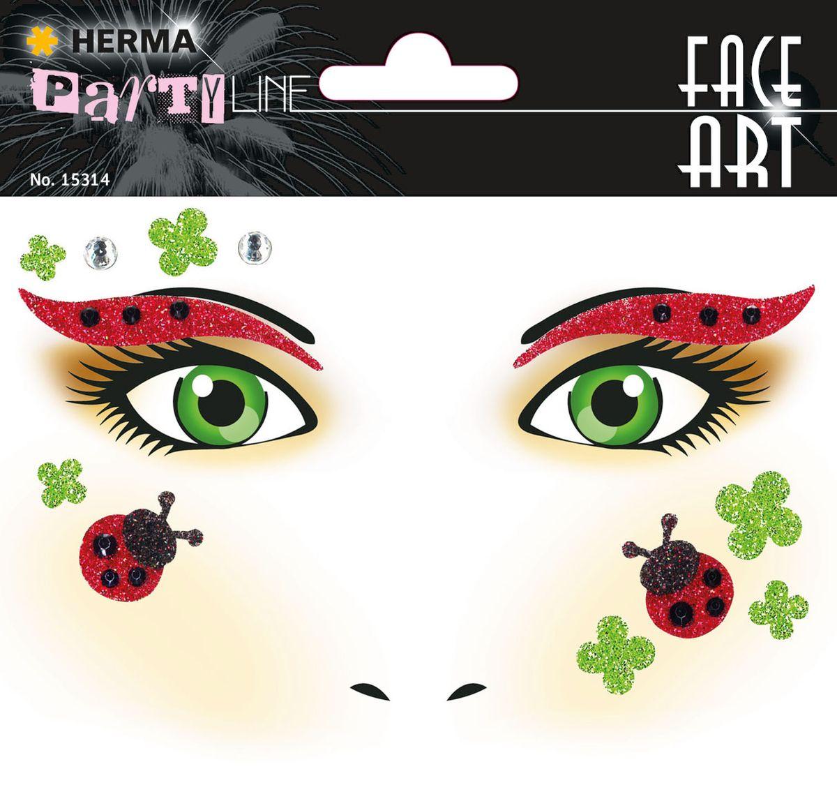 Herma Наклейки на лицо Face Art Glueckskaefer (Божья коровка)15314Face Art (фэйсарт) – это новое направления творчества и искусства. В последнее время фэйсарт стал достаточно популярным и востребованным направлением творчества. Что такое - фэйс арт, это искусство рисования разноцветными красками на лице. Face Art decor от Herma - это серия наклеек для фэйс арта с наиболее популярными мотивами. Face Art decor от Herma - это гламурно, стильно и ярко! Наклейки прошли дерматологические испытания. Инструкция: 1. Аккуратно снимите наклейку и наклейте на лицо. 2. Можно завершить образ с помощью макияжа. 3. Наклейка легко снимается, аккуратно удалите наклейку с лица и умойте лицо водой. 4. Не подходит для чувствительной кожи.