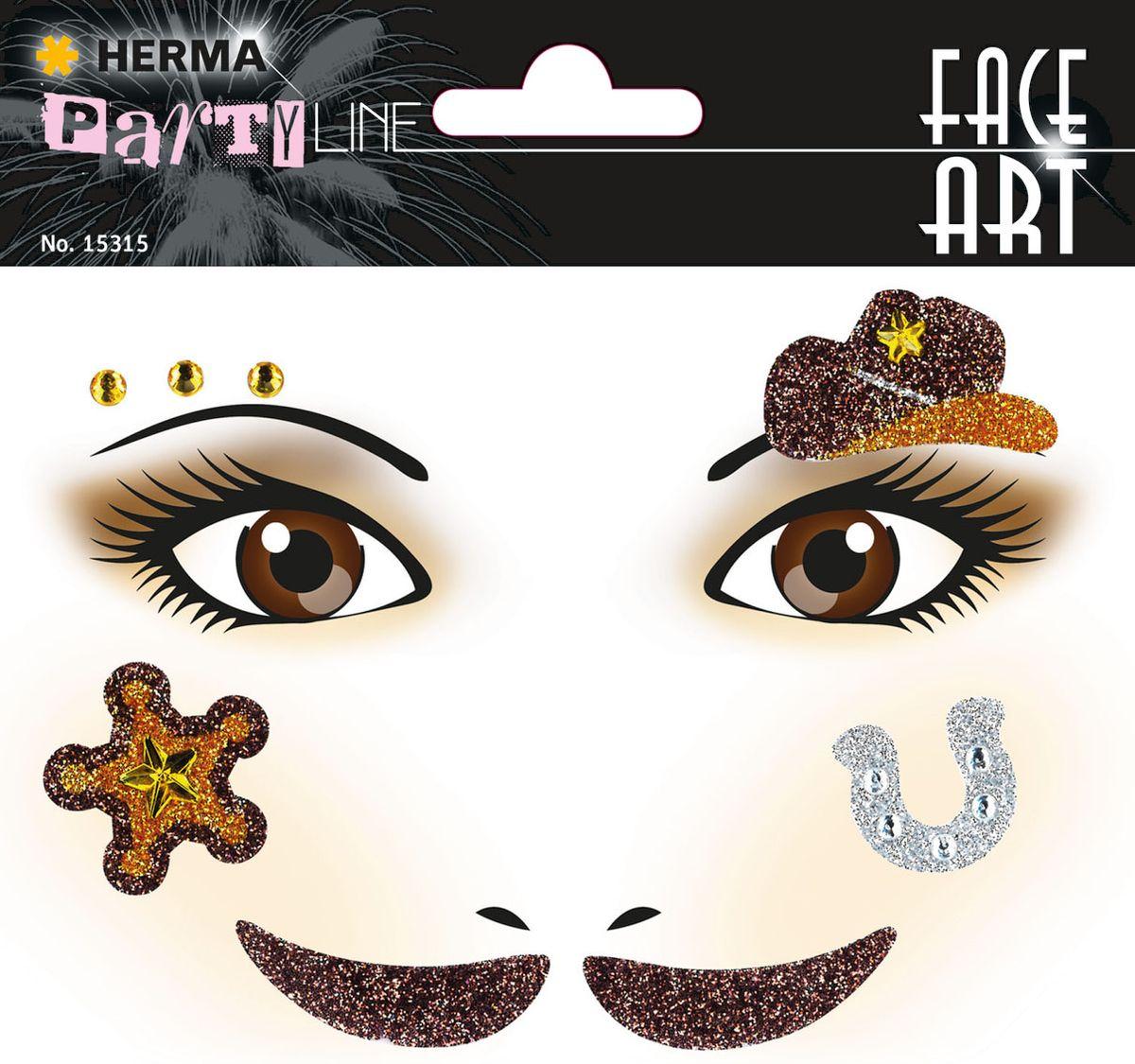 Herma Наклейки на лицо Face Art Cowboy (Ковбой)15315Face Art (фэйсарт) – это новое направления творчества и искусства. В последнее время фэйсарт стал достаточно популярным и востребованным направлением творчества. Что такое - фэйс арт, это искусство рисования разноцветными красками на лице. Face Art decor от Herma - это серия наклеек для фэйс арта с наиболее популярными мотивами. Face Art decor от Herma - это гламурно, стильно и ярко! Наклейки прошли дерматологические испытания. Инструкция: 1. Аккуратно снимите наклейку и наклейте на лицо. 2. Можно завершить образ с помощью макияжа. 3. Наклейка легко снимается, аккуратно удалите наклейку с лица и умойте лицо водой. 4. Не подходит для чувствительной кожи.