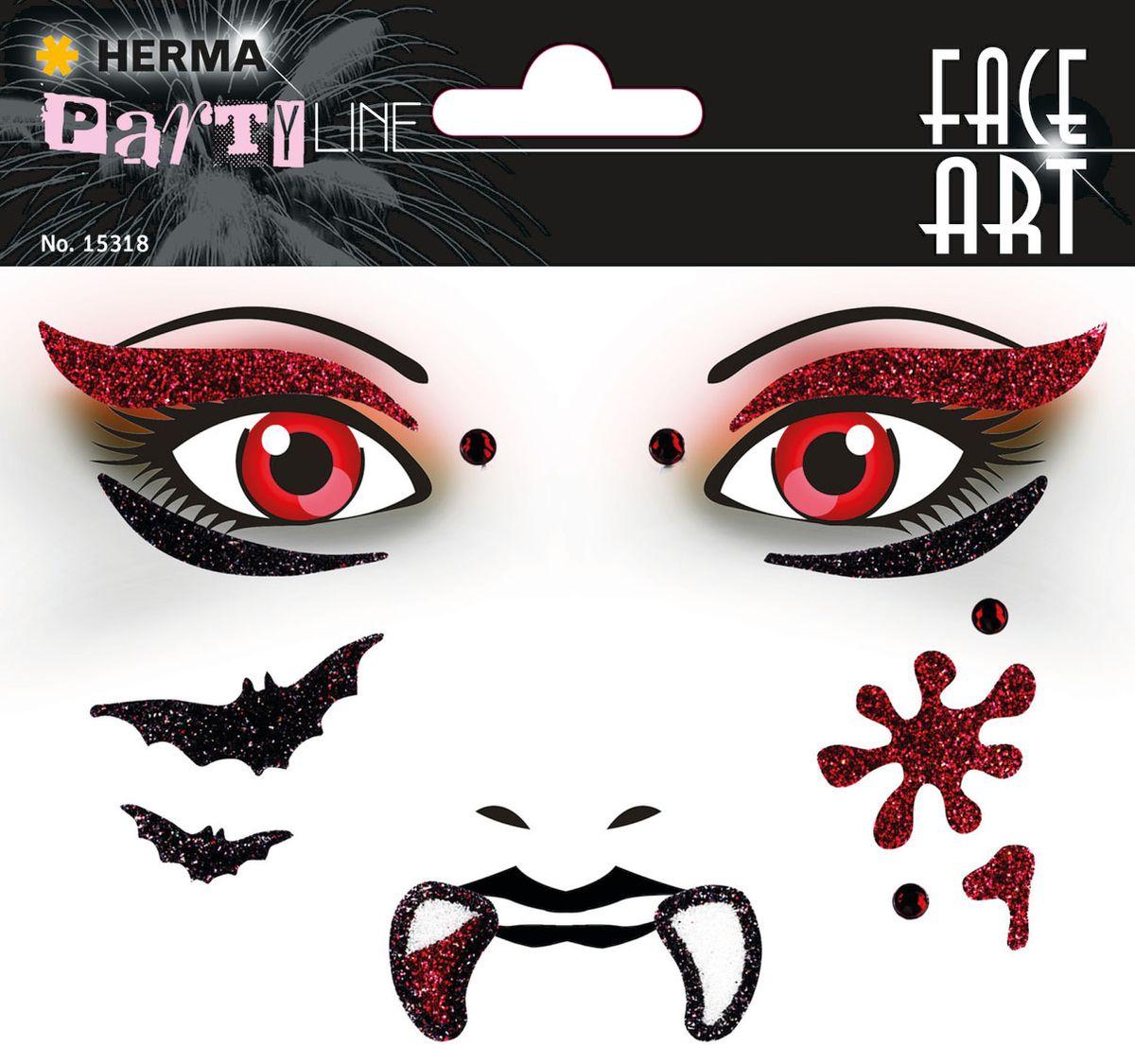 Herma Наклейки на лицо Face Art Vampire (Вампир)15318Face Art (фэйсарт) – это новое направления творчества и искусства. В последнее время фэйсарт стал достаточно популярным и востребованным направлением творчества. Что такое - фэйс арт, это искусство рисования разноцветными красками на лице. Face Art decor от Herma - это серия наклеек для фэйс арта с наиболее популярными мотивами. Face Art decor от Herma - это гламурно, стильно и ярко! Наклейки прошли дерматологические испытания. Инструкция: 1. Аккуратно снимите наклейку и наклейте на лицо. 2. Можно завершить образ с помощью макияжа. 3. Наклейка легко снимается, аккуратно удалите наклейку с лица и умойте лицо водой. 4. Не подходит для чувствительной кожи.
