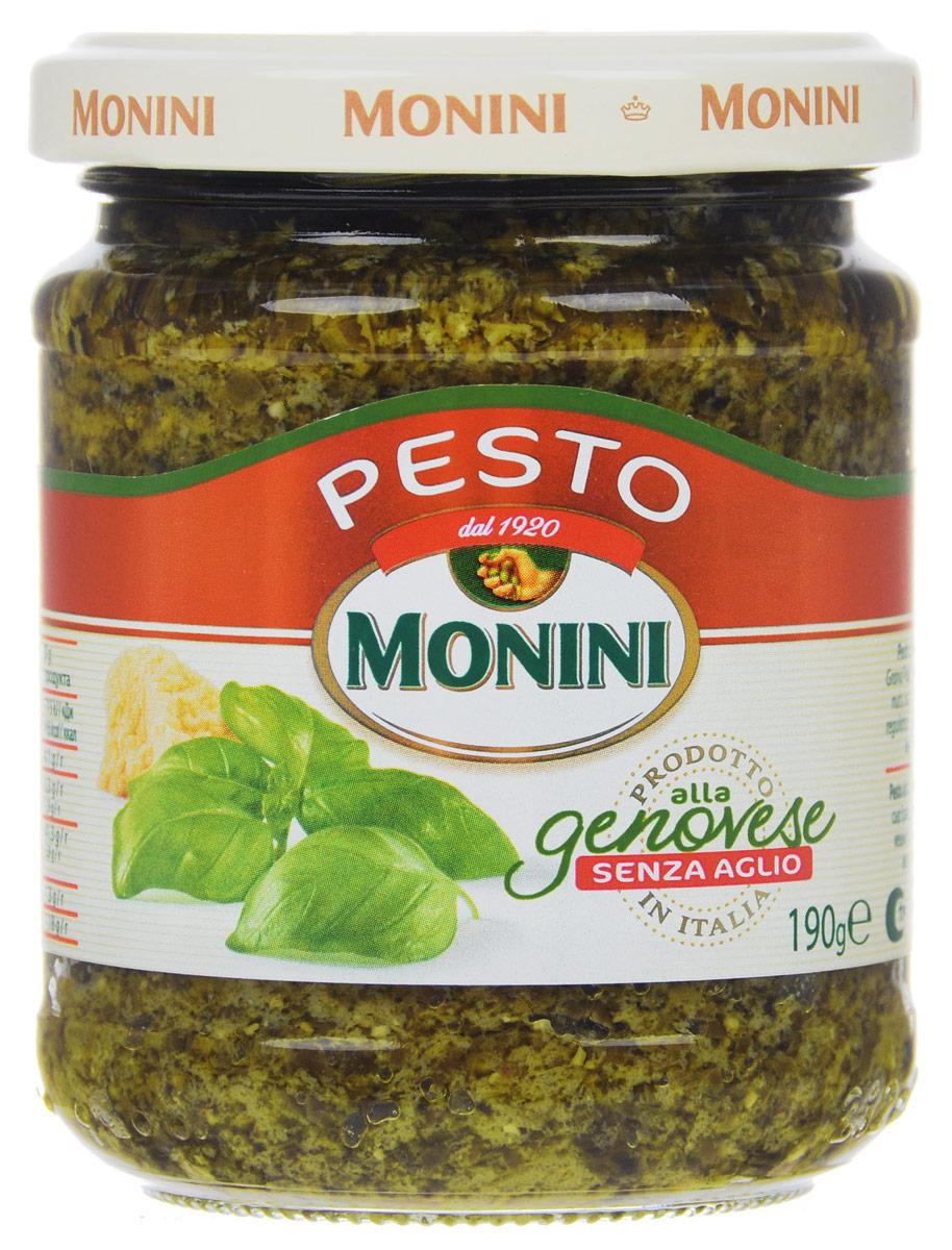 Monini Pesto Alla Genovese соус песто без чеснока, 190 г0510014Соус песто без чеснока от Monini, в отличии от классического, легкий с мягким тонким ароматом. Подходит для тех, кто не любит резкий запах и вкус чеснока. Отлично сочетается с пастой, лазаньей, салатами и супами.