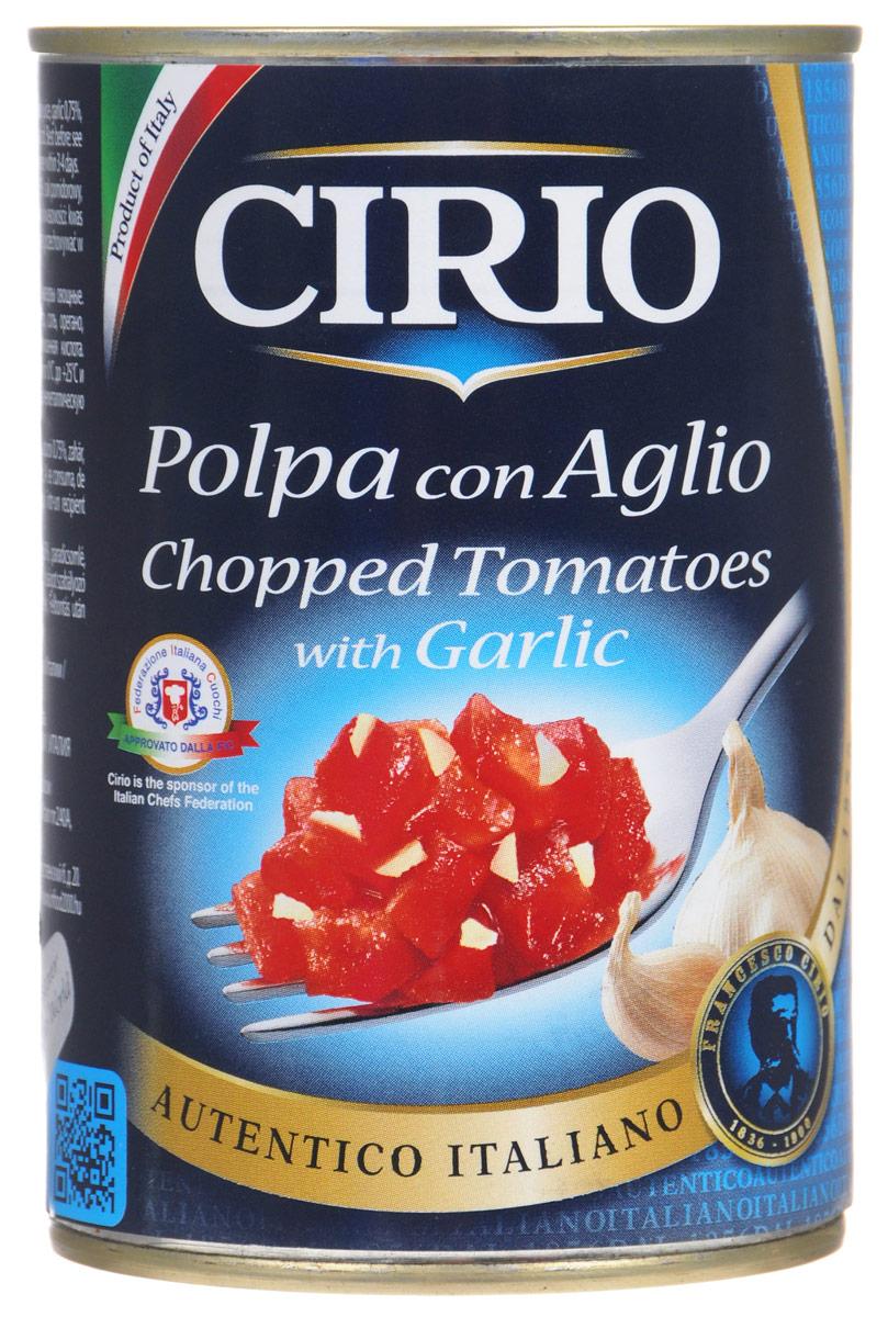 Cirio Chopped Tomatoes With Garlic томаты очищенные резаные с чесноком, 400 г