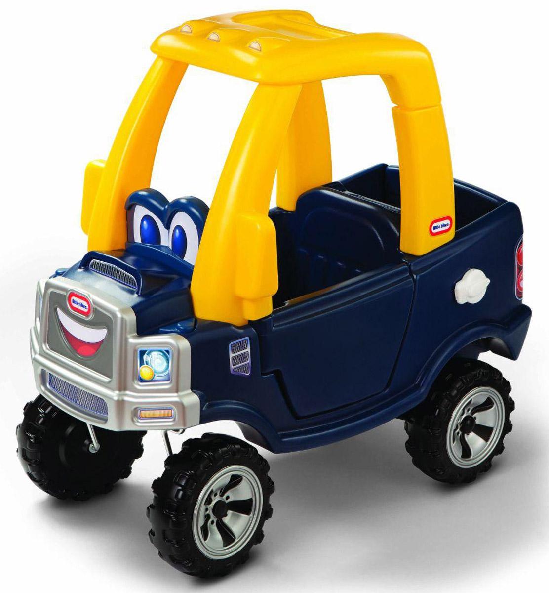 Little Tikes Каталка цвет синий620744Эффектная машинка с желтой крышей Little Tikes непременно понравится вашему ребенку. На передней панели изображена милая мордашка с большими добрыми глазами и озорной улыбкой. Открывающаяся панель багажника дает дополнительное сходство с настоящей машиной-пикапом и, конечно, возможность удобно разместить все необходимое. Каталка выполнена из яркого высококачественного пластика и выдерживает нагрузку до 23 кг. Игрушка оснащена рабочим сигналом, съемной ручкой с помощью которой родители контролируют движение ребенка, высокой спинкой сиденья, местом для хранения игрушек, панелью приборов зажигания, прочными колесами и хорошим сцеплением. Такая игрушка поможет вашему ребенку укрепить мышцы ног, а также развить реакцию, координацию и чувство равновесия. Порадуйте своего ребенка таким замечательным подарком!