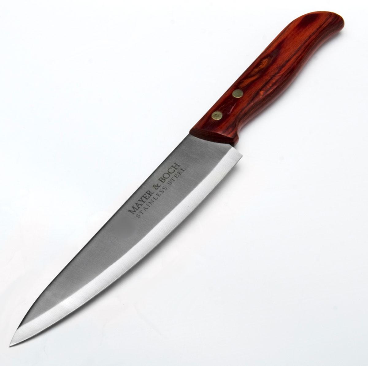Нож Mayer & Boch, 20,3 см23434Универсальный нож изготовлен из высококачественной нержавеющей стали. Оригинальная и практичная рукоятка выполнена из красного дерева. Рукоятка не скользит в руках и делает резку удобной и безопасной. Этот нож идеально шинкует, нарезает и измельчает продукты и займет достойное место среди аксессуаров на вашей кухне. Нож MayerBoch имеет острое лезвие с ровной поверхностью и выверенным углом заточки, специальную закалку металла для повышения прочности, нож не впитывает запахи и не оставляет запаха на продуктах. Изготовлен из экологически чистых материалов, легок и простот в эксплуатации и уходе.