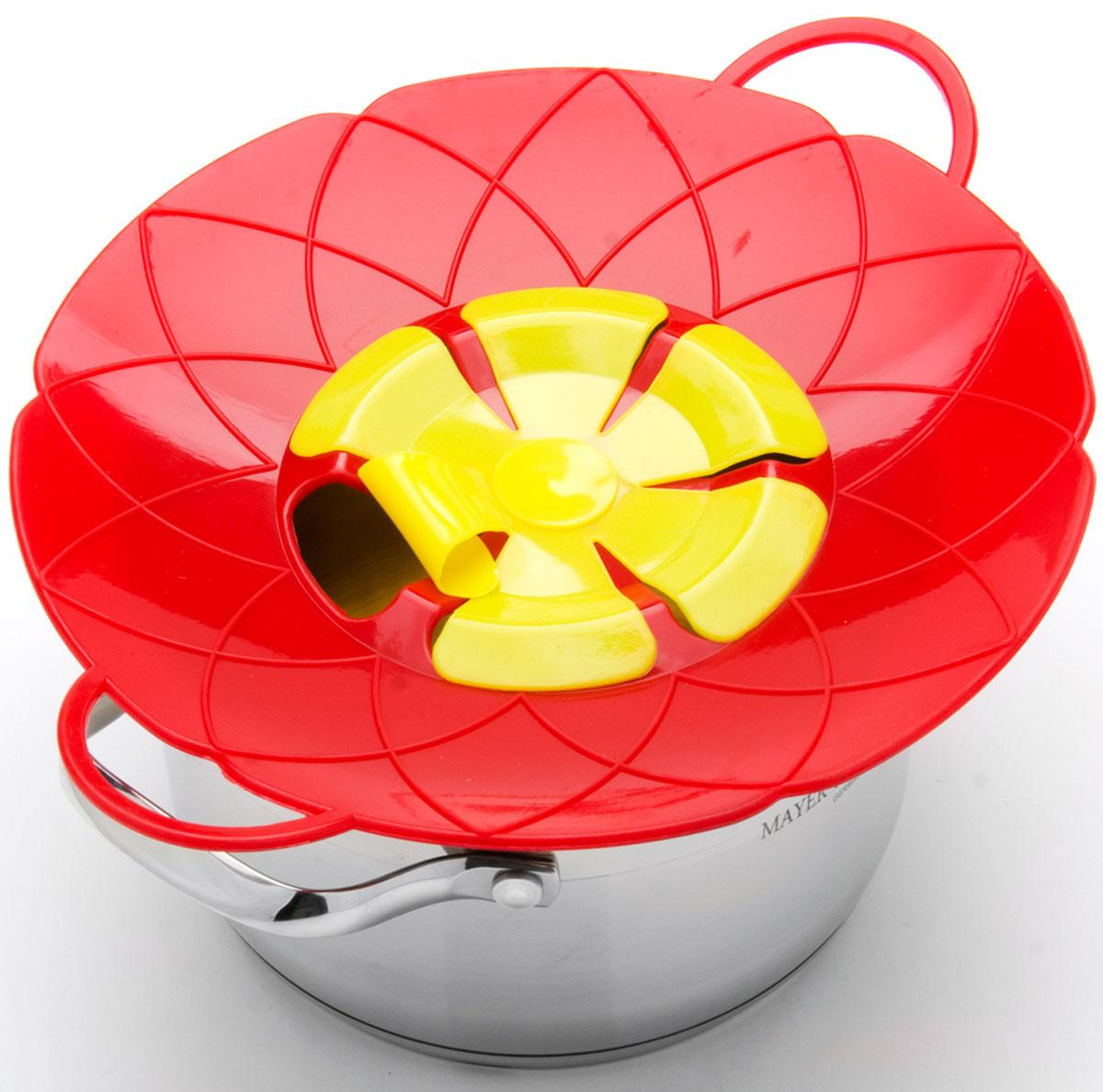 "Крышка-невыкипайка ""Mayer & Boch"", цвет: красный, желтый, диаметр 25 см 24256-2"