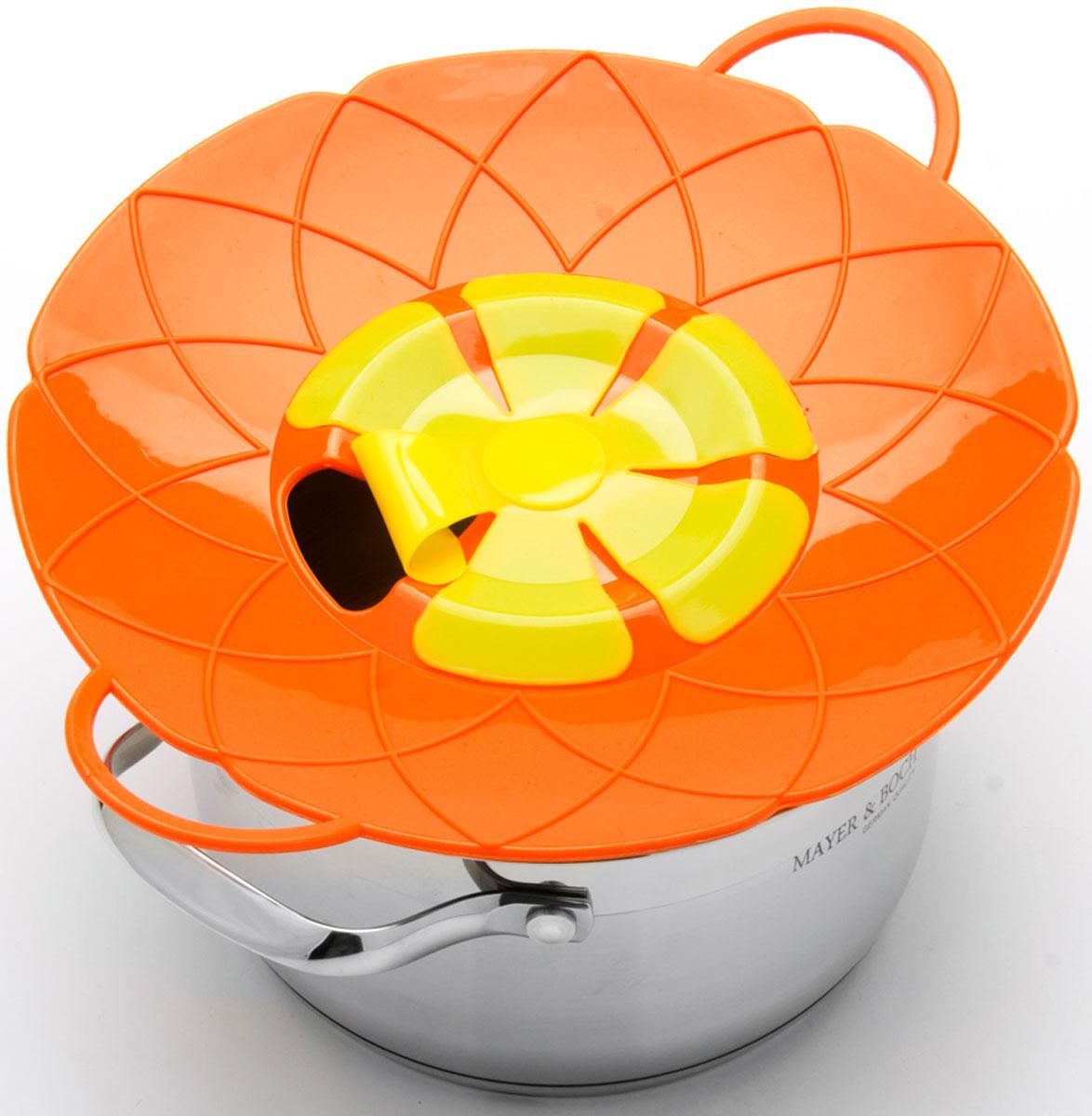 Крышка-невыкипайка Mayer & Boch, цвет: оранжевый, желтый, диаметр 25 см24256-3Силиконовая крышка 2 в 1 (невыкипайка и пароварка) изготовлена из силикона высокого качества. Не теряет форму от высоких температур. Крышка-невыкипайка предотвращает выкипание и брызги. Ваша кухня всегда будет в чистоте. Изделие значительно облегчит приготовление пищи. Вы даже можете оставлять без присмотра готовящуюся пищу. При хранение в прохладных местах - крышка обеспечит свежесть продуктов. При использовании крышки в микроволновой печи, масло не разбрызгивается. Можете готовить овощи и морепродукты на пару. Пища, приготовленная на пару вкусная и полезная.