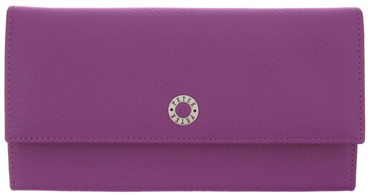 Портмоне женское Petek 1855, цвет: пурпурный. 400.46D.16400.46D.16 PurpleСтильное женское портмоне Petek 1855 изготовлено из натуральной кожи с фактурным тиснением. Портмоне закрывается на клапан с кнопкой. Внутри находятся два отделения для купюр, между которыми находится карман на застежке-молнии, двенадцать кармашков для визиток и пластиковых карт, один из которых с сетчатым окошечком, карман для мелочи, закрывающийся на защелку, карман для документов и потайной карман. Портмоне упаковано в фирменную коробку. Такое портмоне станет замечательным подарком человеку, ценящему качественные и практичные вещи.