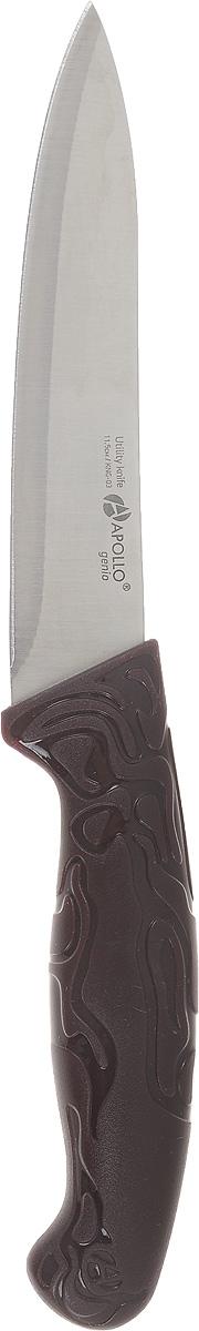 Нож универсальный Apollo King, длина лезвия 11,5 смKNG-03Универсальный нож Apollo King предназначен для нарезки различных продуктов. Лезвие выполнено из высококачественной нержавеющей стали. Эргономичная рукоятка с рельефным узором, выполненная из пластика, не скользит в руках и делает нарезку удобной и безопасной. Благодаря уникальной формуле стали и качеству ее обработки, лезвие имеет высокий показатель твердости, что позволяет ему долго сохранять острую заточку. Нож Apollo King идеально шинкует, нарезает и измельчает продукты. Он займет достойное место среди аксессуаров на вашей кухне. Не рекомендуется мыть в посудомоечной машине. Длина ножа: 11,5 см. Толщина лезвия: 1 мм.