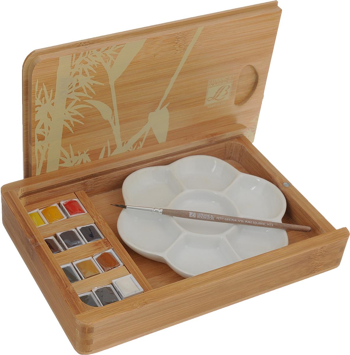 Набор акварельных красок Lefranc & Bourgeois Fine, в бамбуковом кейсе, 15 предметовLF601662Набор акварельных красок Lefranc & Bourgeois Fine состоит из 12 кюветов разных цветов в бамбуковом кейсе, кисточки и керамической палитры. Данная форма акварели эффективна в работе над небольшими картинами, а также на пленэре при выполнении набросков.