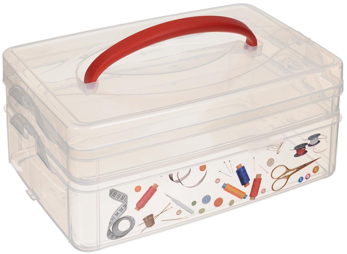 Контейнер для мелочей Econova Multi Box, с ручкой, 2 секции, 24,5 х 16 х 10,5 см, новый дизайнС12333_катушки