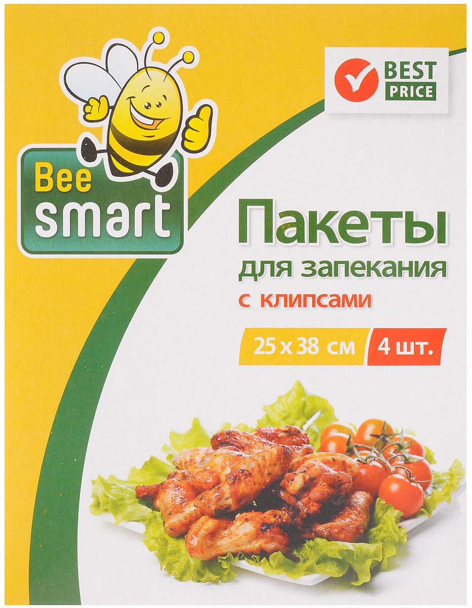 Пакеты для запекания Beesmart, с клипсами, 25 х 38 см, 4 шт413017Набор Beesmart состоит из 4 пакетов для запекания. Изделия изготовлены из политерефталата и используются для приготовления вкусных, а главное полезных блюд из мяса, рыбы, овощей в собственном соку. Они позволяют приготовить здоровую пищу, сократить количество калорий и сохранить витамины. Продукты можно запекать без использования масла и жира. Пакеты оснащены специальными клипсами для закрывания, которые выполнены из металла, бумаги и полиэтилена. Пакеты подходят для приготовления в духовых шкафах любого типа. Размер пакета: 25 х 38 см.