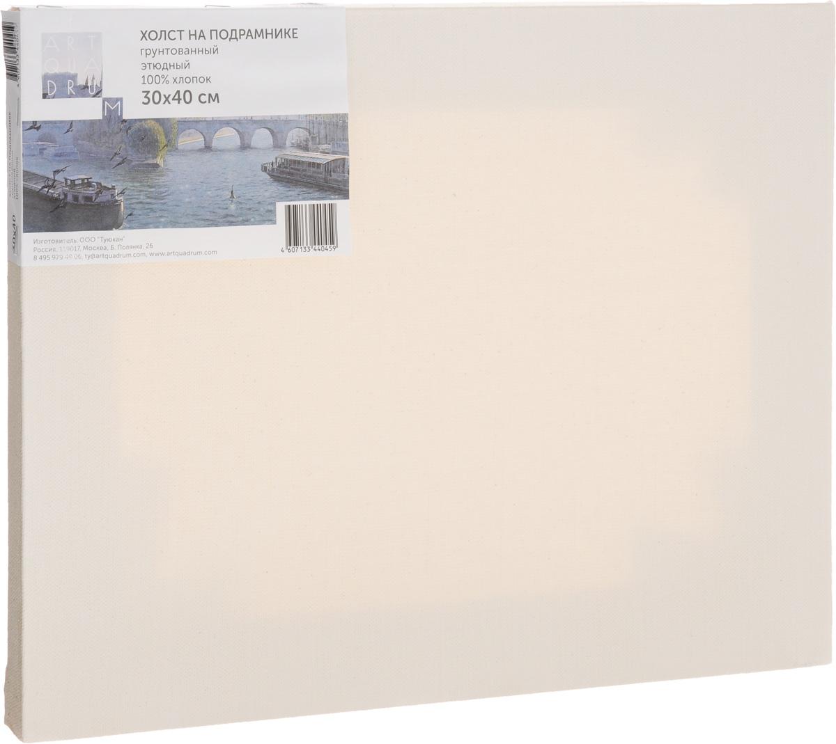 Холст ArtQuaDram Этюдный на подрамнике, грунтованный, 30 х 40 смТ0015336Холст на деревянном подрамнике ArtQuaDram Этюдный изготовлен из 100% натурального хлопка. Подходит для профессионалов и художников. Холст не трескается, не впитывает слишком много краски, цвет краски и качество не изменяются. Холст идеально подходит для масляной и акриловой живописи.