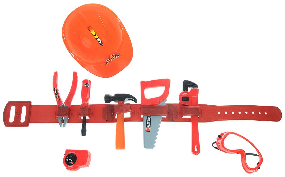Altacto Игровой набор инструментов СтроительALT0202-005Игровой набор инструментов Altacto Строитель станет отличным подарком для маленького мастера. В наборе имеется все, что может пригодиться юному строителю: трубный ключ, отвертка, молоток, пила, плоскогубцы, рулетка, защитные очки, пояс для инструментов и каска. Малыш сможет отремонтировать игрушки и устранить все неисправности в доме, помогая папе. Игры с этим набором способствуют развитию воображения и познавательного мышления. Все изделия набора изготовлены из нетоксичного и качественного материала.