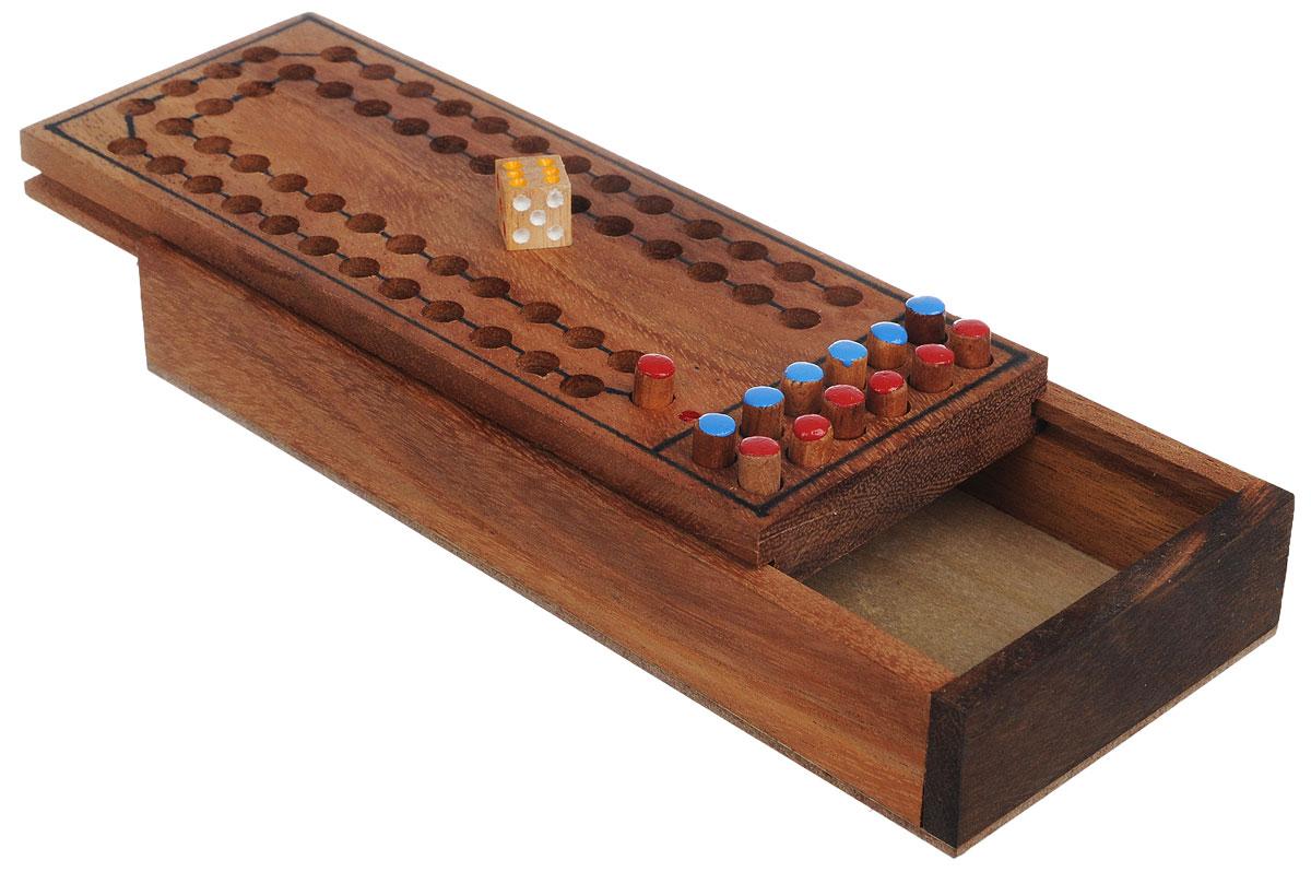 Dilemma Головоломка Игра в скачки цвет коричневый красный голубойIQ207_коричневый, красный, голубойГоловоломка Dilemma Игра в скачки, выполненная из дерева, станет отличным подарком всем любителям головоломок! Простая стратегическая игра для двух игроков. Игра состоит из деревянной коробки с лунками, 12 фишек двух разных цветов и деревянного кубика. Поставьте всех лошадей (фишки) в стойло (на стартовую позицию). Цель головоломки: привести к финишу всех своих лошадей. Игроки поочередно кидают кубик и двигают одну из своих лошадей. Игрок может выбрать - добавить новую лошадь в забег (из стойла) или играть одной из тех, что уже находятся на поле. Нужно делать свои ходы с учетом ловушек. Первый игрок, который приведет всех своих лошадей домой, становится победителем.