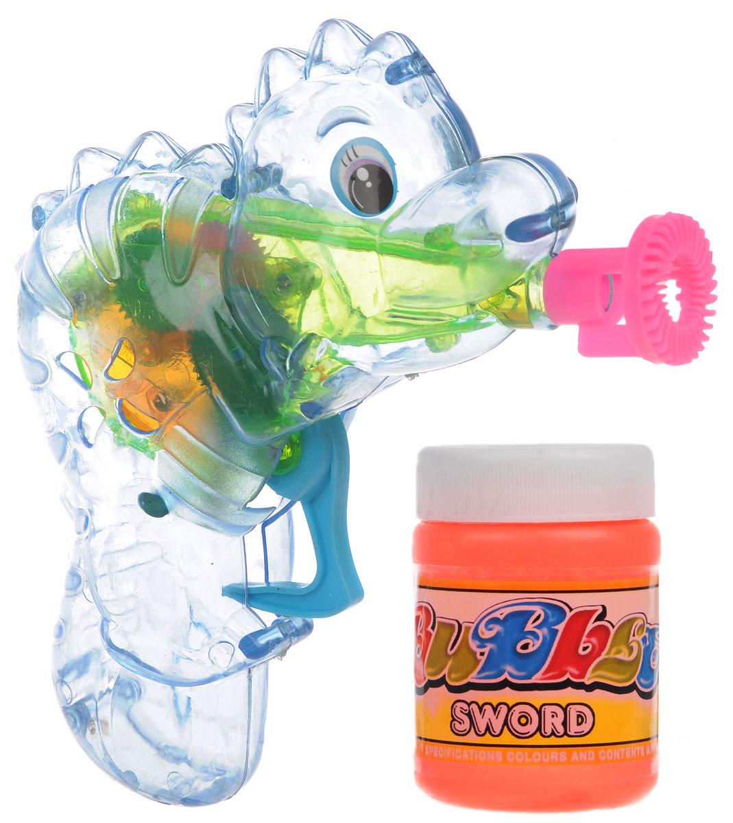 Веселая затея Набор для пускания мыльных пузырей Динозаврик цвет голубой1504-0279_голубойВыдувание мыльных пузырей - это веселое развлечение для детей и взрослых. А с игрушкой Веселая затея Динозаврик вас ждет просто гигантская очередь мыльных пузырей! Для этого налейте мыльный раствор в крышку, опустите в нее носик игрушки, поднимите в воздух и нажмите на курок. Вы увидите невероятное количество пузырей. Пистолет со светящимся диском, который раскручивается внутри благодаря нажатию на курок. Устройте малышу настоящее мыльное шоу! В комплекте для выдувания мыльных пузырей: пластиковый пистолет, пузырек с мыльным раствором и батарейки.
