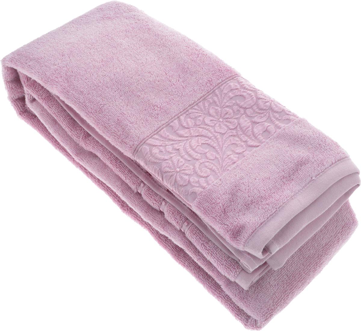 Полотенце бамбуковое Issimo Home Valencia, цвет: светло-пурпурный, 90 x 150 см4770Полотенце Issimo Home Valencia выполнено из 60% бамбукового волокна и 40% хлопка. Таким полотенцем не нужно вытираться - только коснитесь кожи - и ткань сама все впитает. Такая ткань впитывает в 3 раза лучше, чем хлопок. Несмотря на богатую плотность и высокую петлю полотенца, оно быстро сохнет, остается легким даже при намокании. Бамбуковое полотенце имеет красивый жаккардовый бордюр, выполненный с орнаментом в цвет полотенца. Благородный, классический тон создаст уют и подчеркнет лучшие качества махровой ткани, а сочный, яркий, летний оттенок создаст ощущение праздника и наполнит дом энергией. Красивая, стильная упаковка этого полотенца делает его уже готовым подарком к любому случаю.
