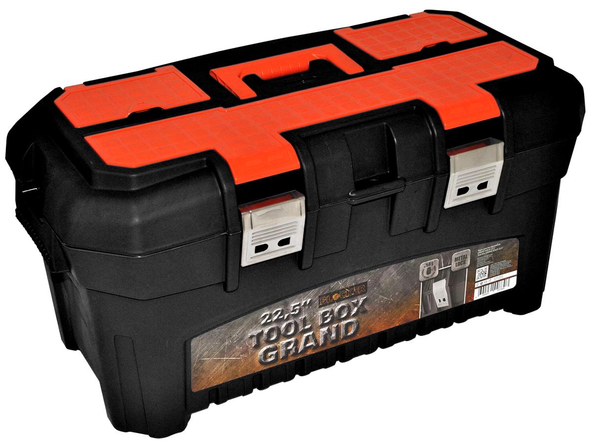 Ящик для инструментов Blocker Grand Solid, цвет: черный, оранжевый, 580 х 320 х 280 ммBR3935ЧРОРЯщик для инструментов GRAND с двумя стальными замками. Усиленный корпус, набор органайзеров в крышке, ременные петли для переноски. Современный, высокотехнологичный, надежный, стильный.