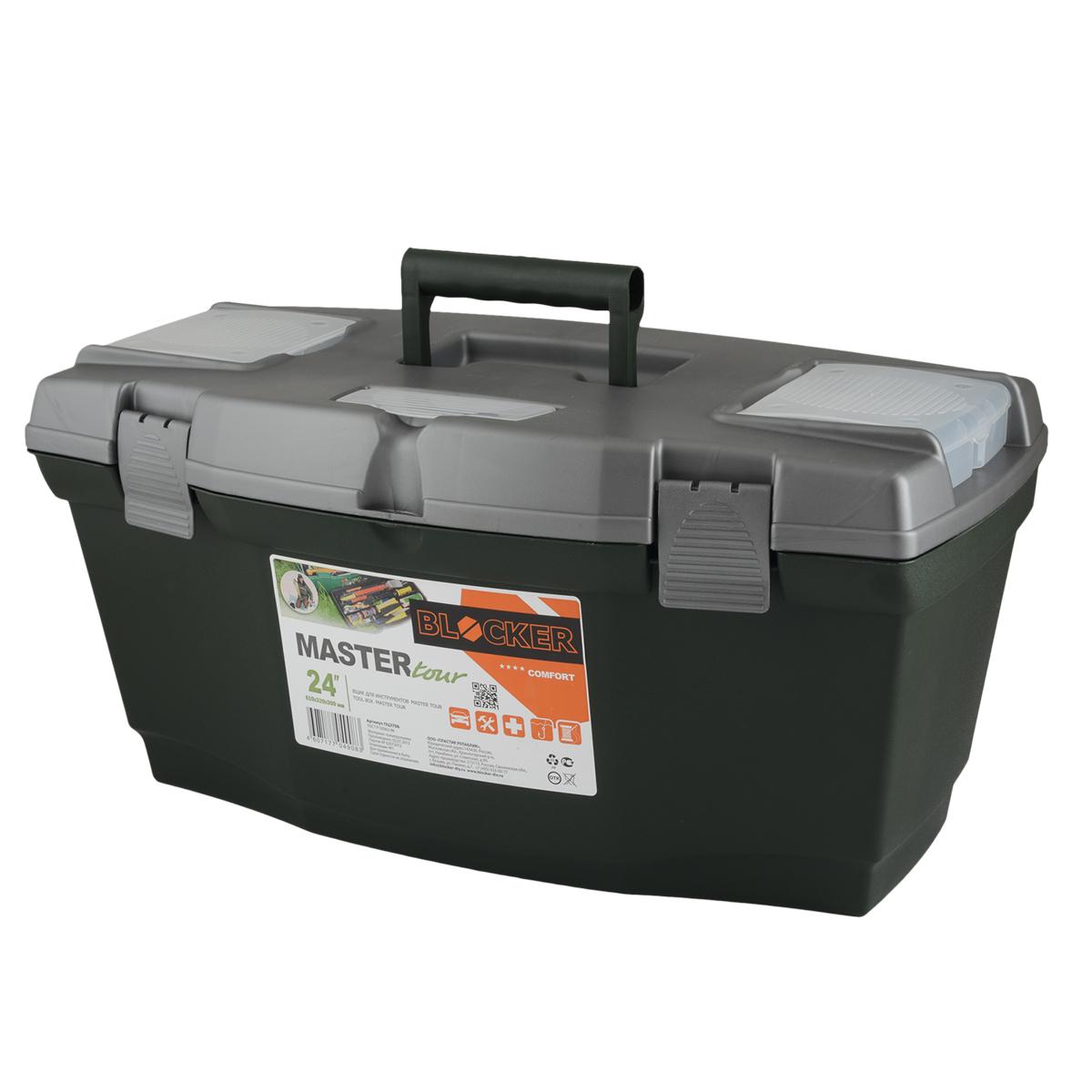 Ящик для инструментов Blocker Master Tour, цвет: темно-зеленый, 610 х 320 х 300 ммПЦ3706ТЗЛ-4РSМногофункциональный ящик отлично подходит для хранения небольших рыболовных и охотничьих принадлежностей, может быть использован для переноски мангала, посуды и многих вещей, которые могут понадобиться на отдыхе или в путешествии.