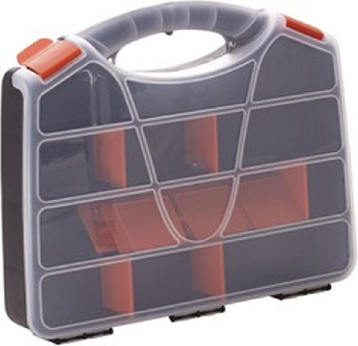 Органайзер для инструментов Blocker Profi, цвет: серый, оранжевый, 38 х 31 х 6,5 смПЦ3722СРСВИНЦОРУдобный органайзер Blocker Profi предназначен для переноски и хранения инструментов. Изделие выполнено из высококачественного полипропилена и оснащено 21 ячейкой. Прозрачная крышка, небольшой размер и продуманная эргономика делают хранение любых мелочей простым и эффективным. Надежные замки предохраняют от случайного открытия. Съемные разделители позволяют организовать пространство в соответствии с вашими пожеланиями. Размер ячеек: 5 х 5,5 см. Количество разделителей: 18 шт.