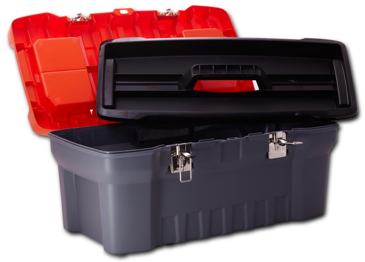 Ящик для инструментов Blocker Expert, цвет: черный, оранжевый, 560 х 280 х 235 ммПЦ3732-1ЧРОРПрочный, удобный ящик для хранения и переноски инструментов, домашних мелочей, рыболовных принадлежностей. Надежные металлические замки, современный дизайн, конструкция, предусматривающая повышенные нагрузки, внутренний лоток. Встроенные органайзеры в крышке для размещения мелких деталей.