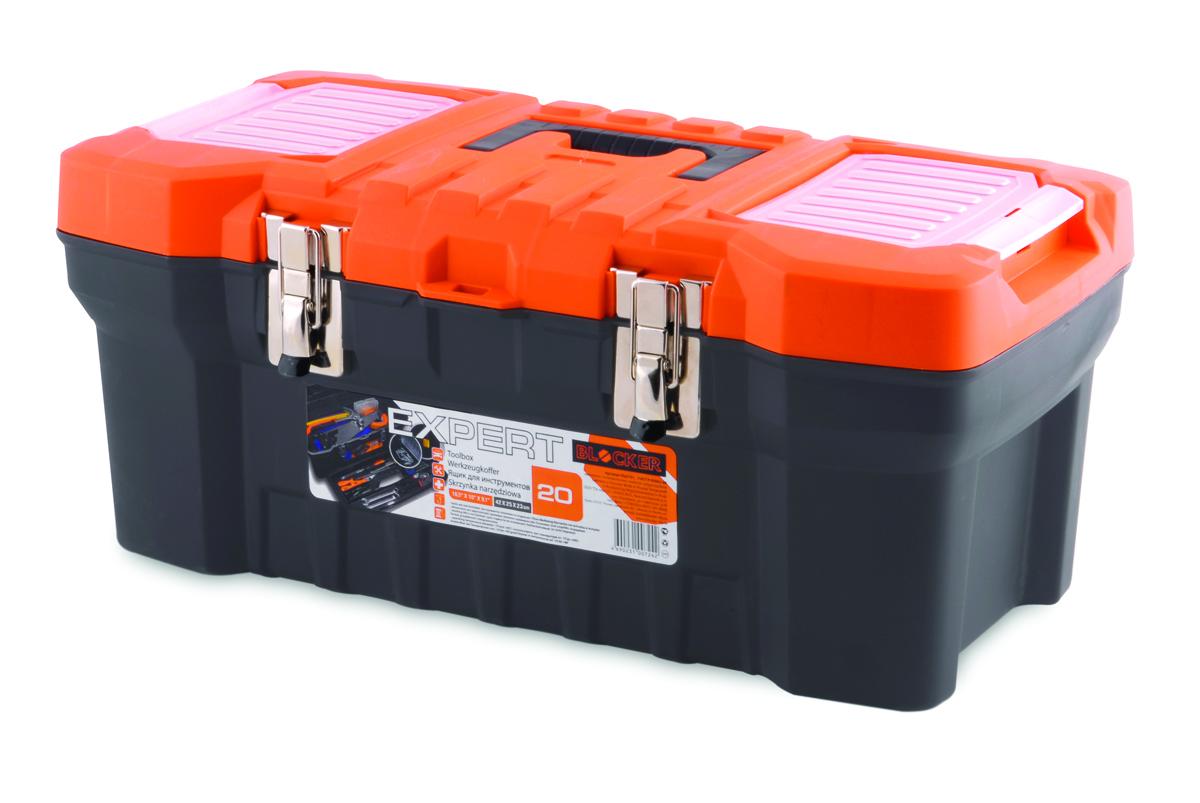 Ящик для инструментов Blocker Expert, цвет: серый, 510 х 260 х 220 ммПЦ3731/НСРСВПрочный, удобный ящик для хранения и переноски инструментов, домашних мелочей, рыболовных принадлежностей. Надежные металлические замки, современный дизайн, конструкция, предусматривающая повышенные нагрузки, внутренний лоток. Встроенные органайзеры в крышке для размещения мелких деталей.
