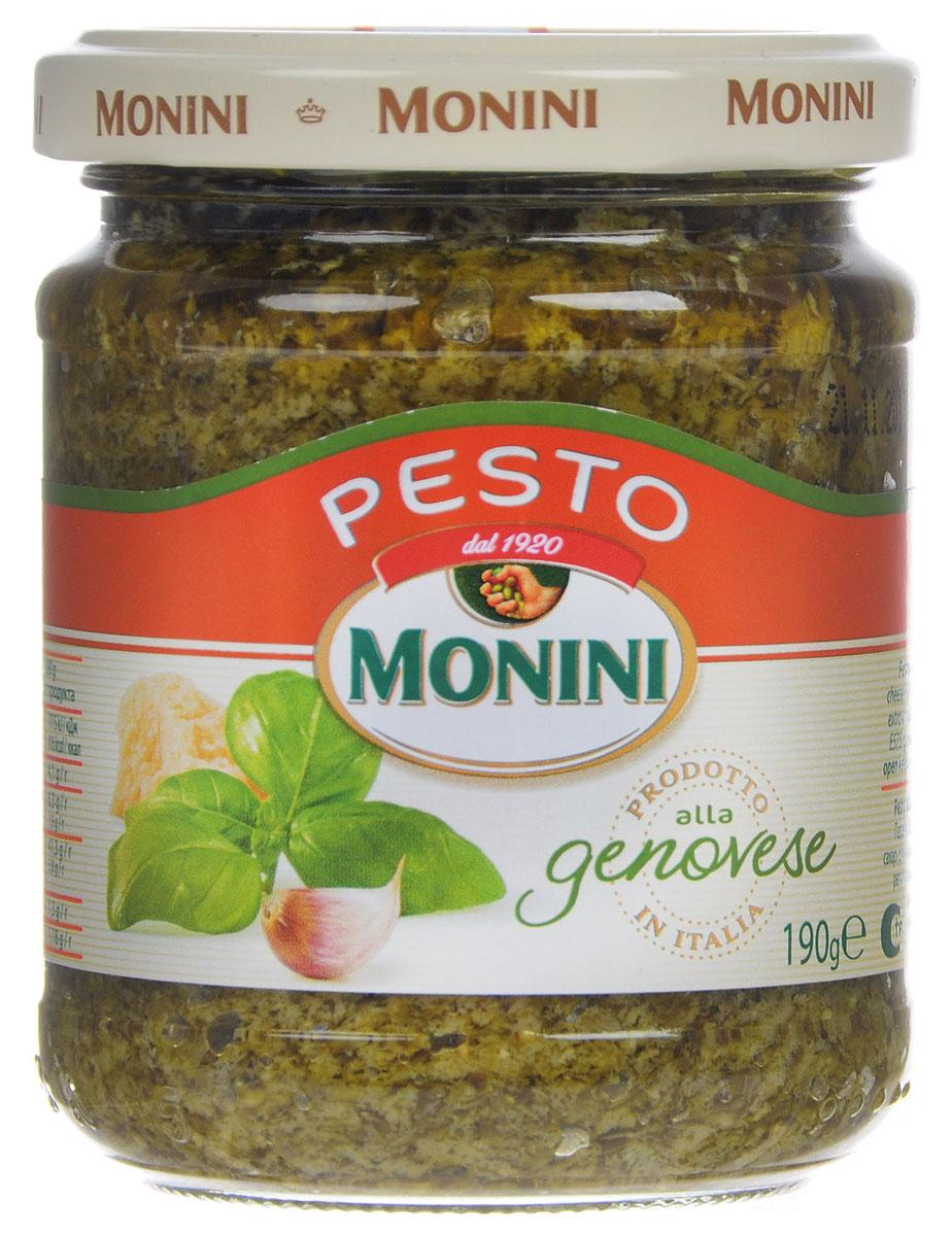 Monini Pesto Alla Genovese соус песто, 190 г0510009Песто - популярный соус итальянской кухни на основе оливкового масла, базилика и сыра. Отлично сочетается с пастой, лазаньей, салатами и супами.
