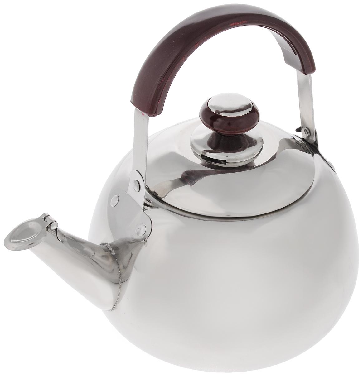 Чайник Mayer & Boch, со свистком, 3 л. 25232523Чайник Mayer & Boch изготовлен из высококачественной нержавеющей стали. Он оснащен подвижной ручкой из стали и бакелитовой накладкой, что делает использование чайника очень удобным и безопасным. Крышка снабжена свистком, позволяя контролировать процесс подогрева или кипячения воды. Капсулированное дно с прослойкой из алюминия обеспечивает наилучшее распределение тепла. Эстетичный и функциональный, с эксклюзивным дизайном, чайник будет оригинально смотреться в любом интерьере. Подходит для стеклокерамических, газовых и электрических плит. Не подходит для индукционных плит. Можно мыть в посудомоечной машине. Высота чайника (без учета ручки и крышки): 11,5 см. Высота чайника (с учетом ручки и крышки): 23,5 см. Диаметр чайника (по верхнему краю): 11 см.